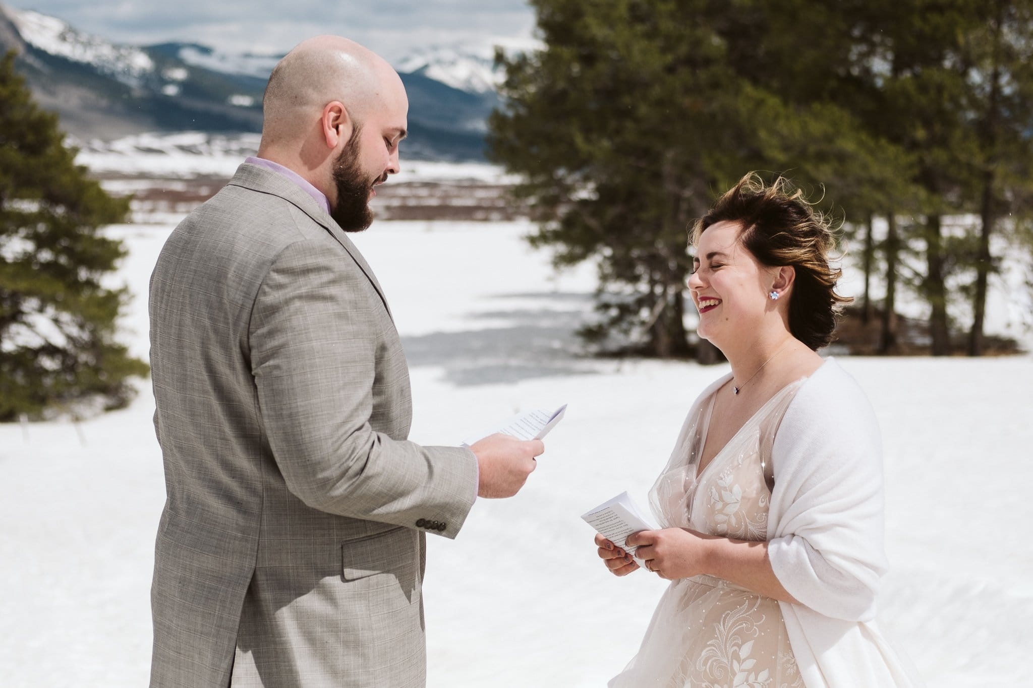 Crested Butte winter elopement ceremony in snowy Colorado mountains