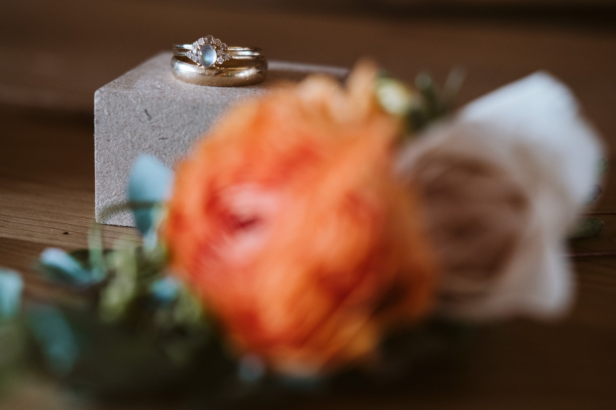 Wedding rings and boutonniere