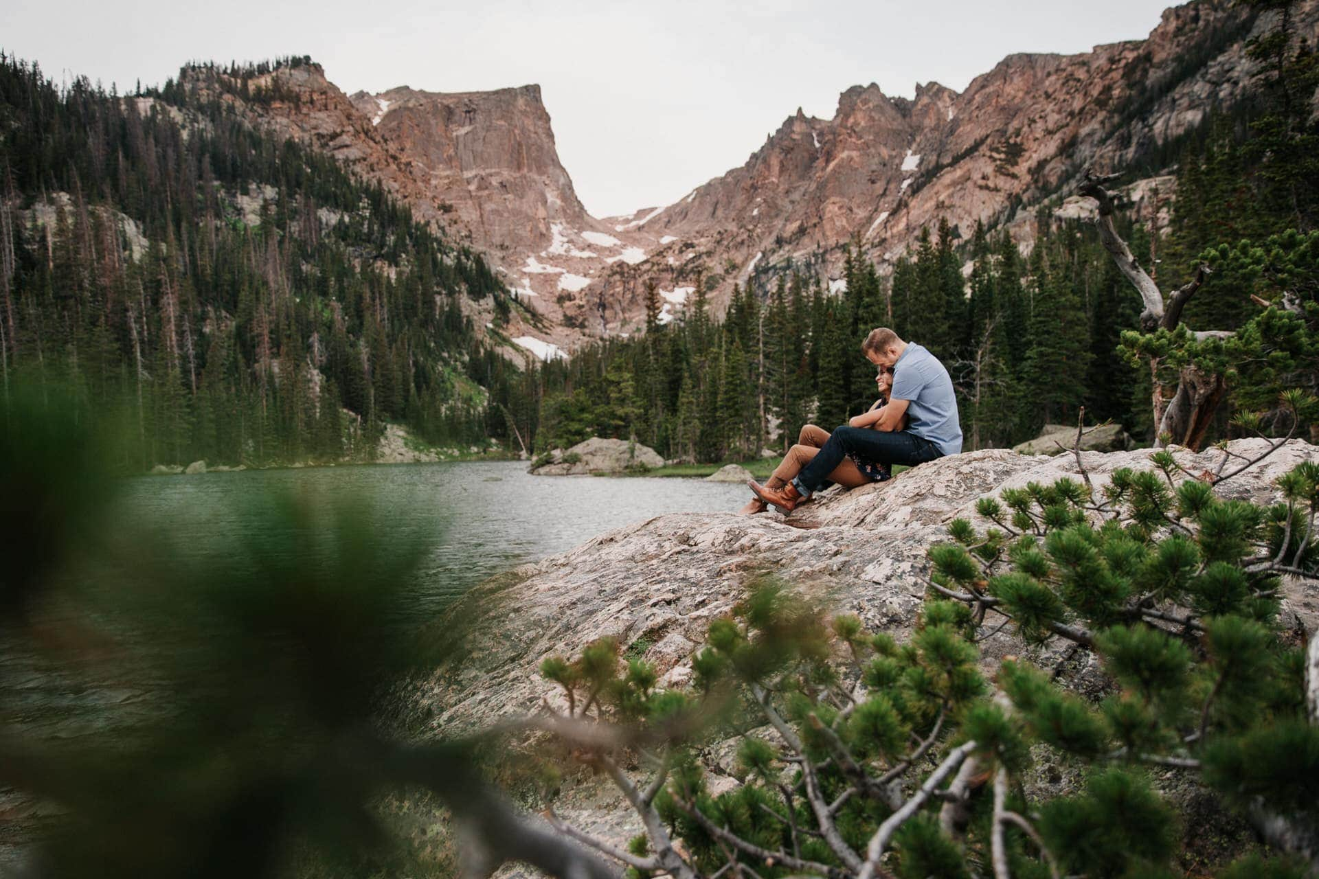 Dream Lake engagement photography session in Rocky Mountain National Park