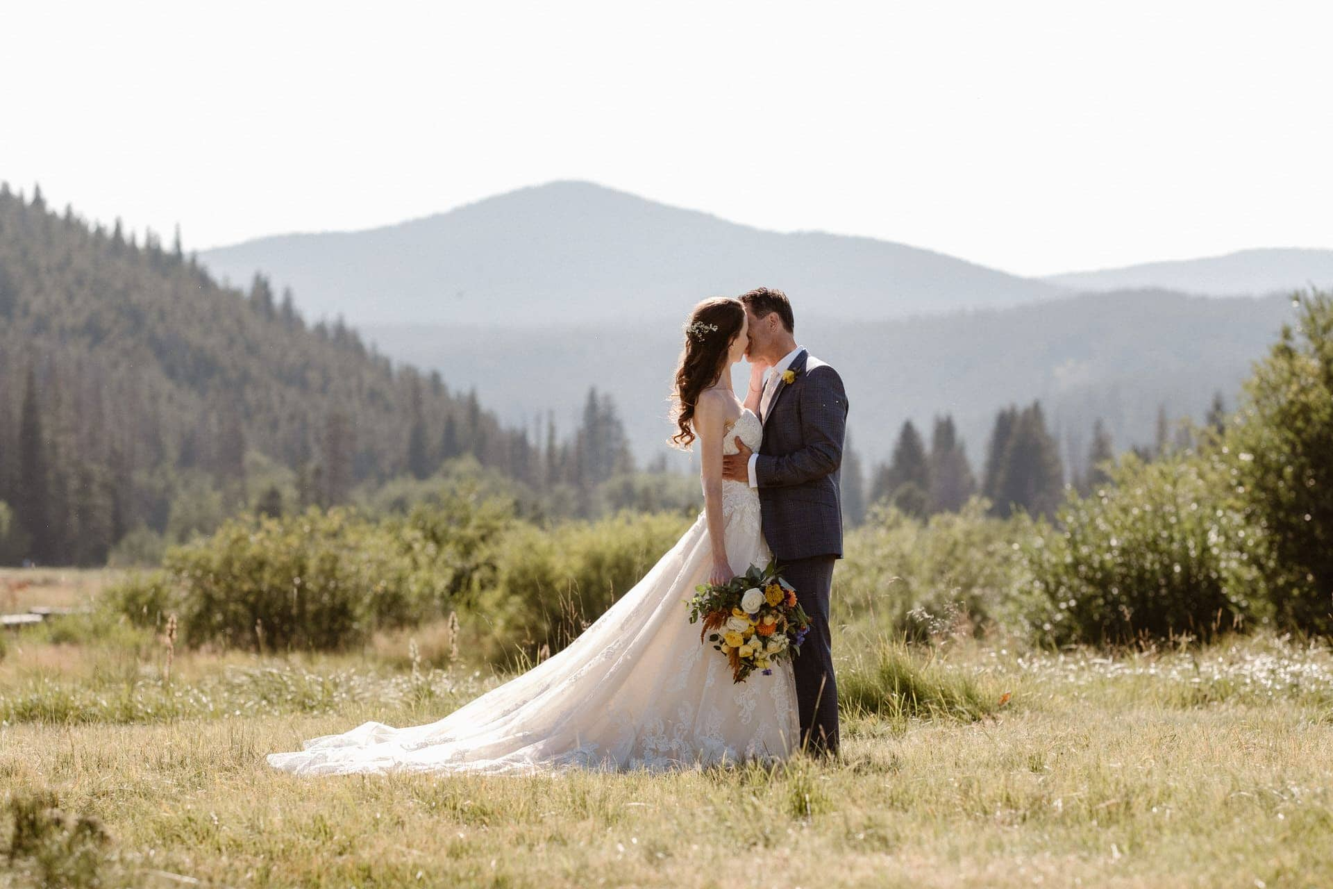 Alpine lake elopement ceremony near Boulder, Colorado