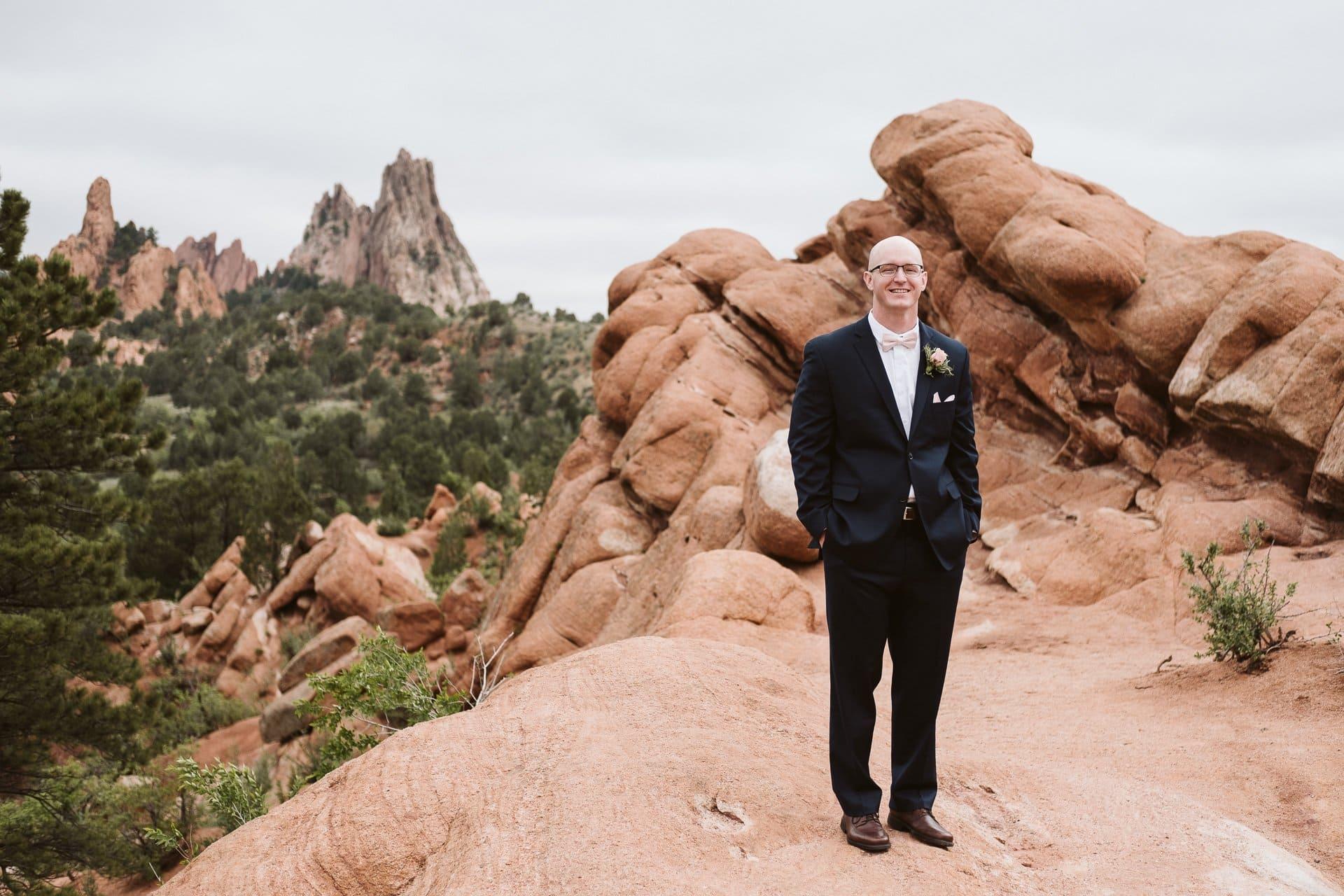 Groom portrait at Garden of the Gods in Colorado Springs