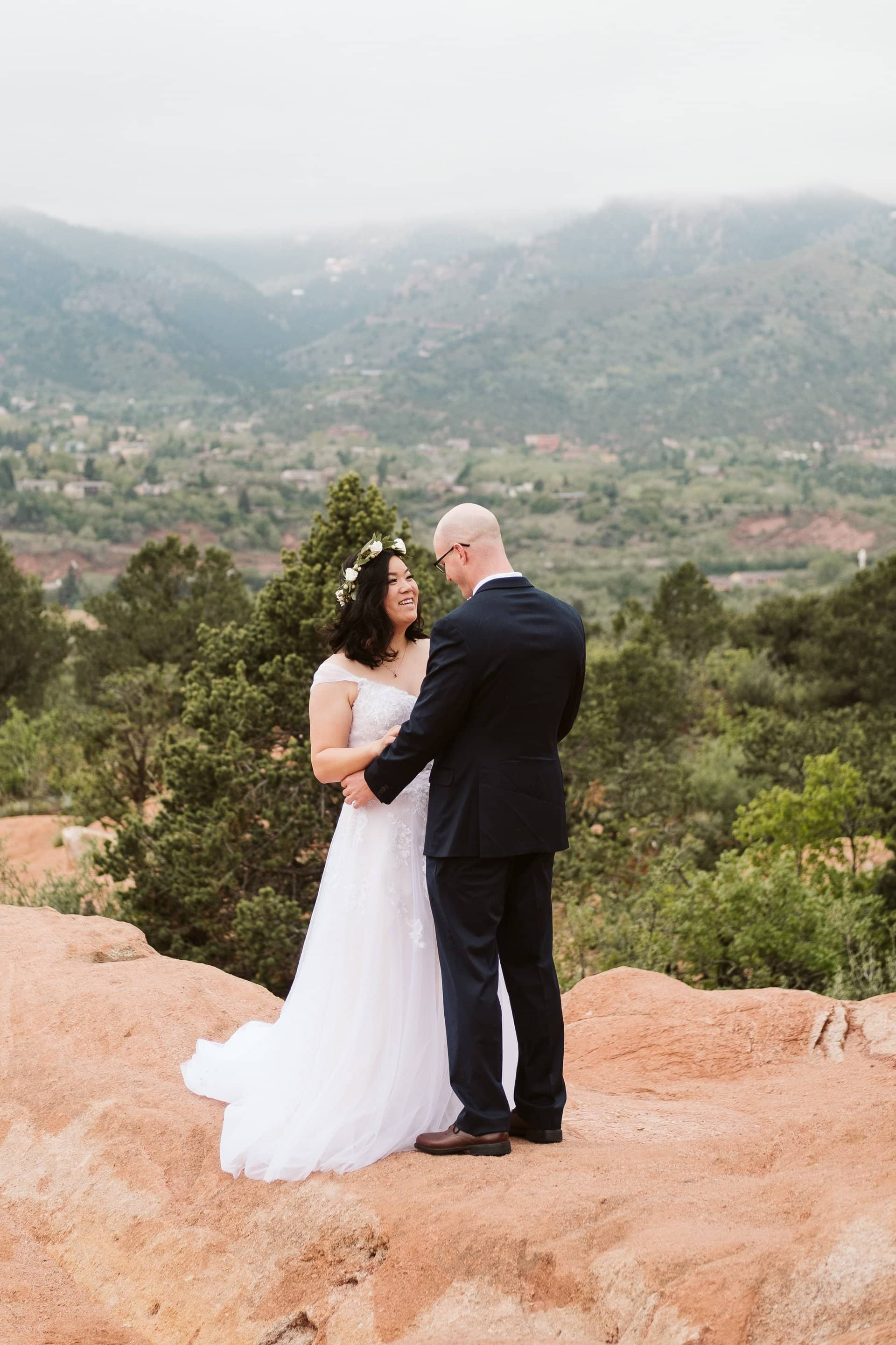 First look before elopement at Garden of the Gods in Colorado Springs