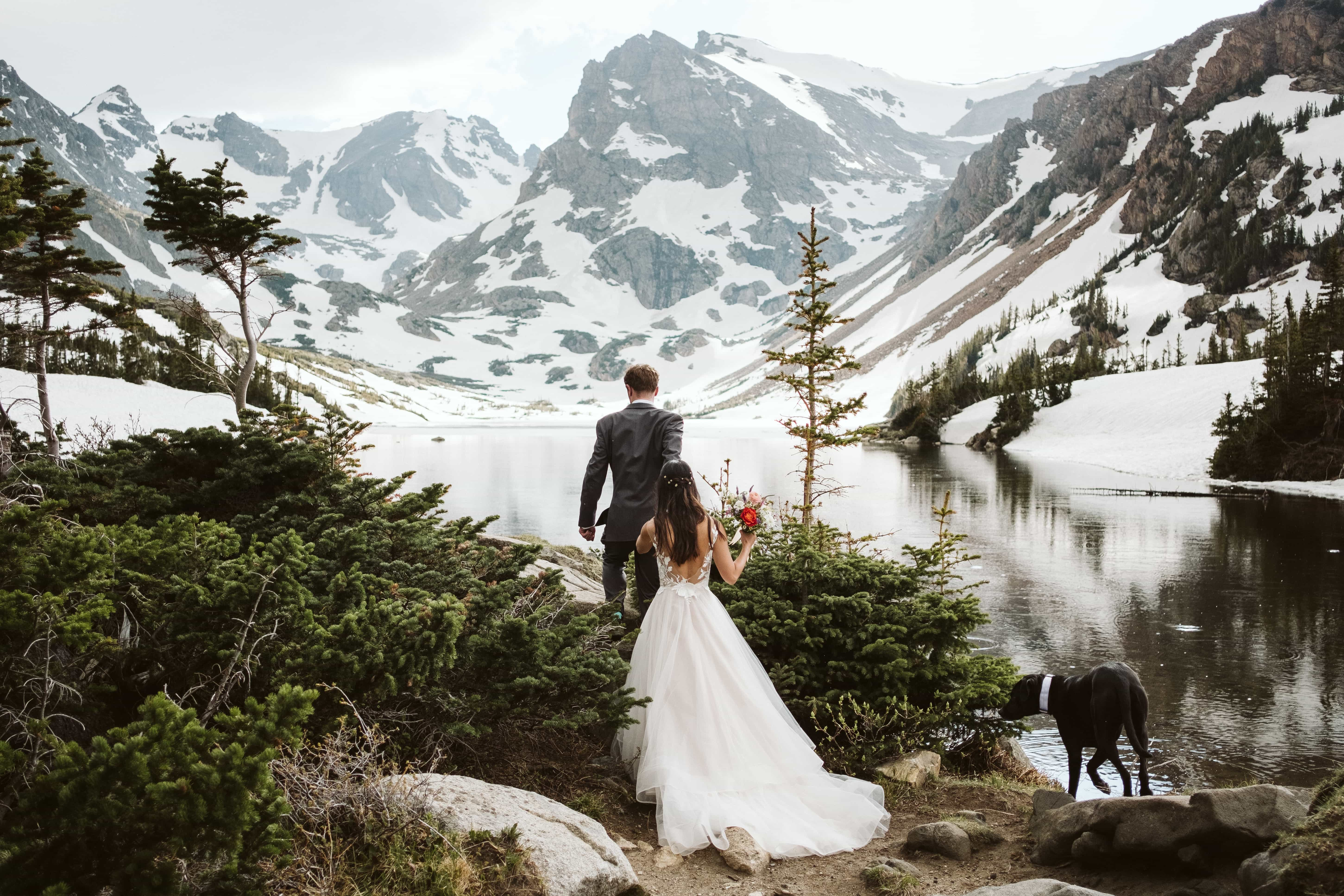 Colorado hiking adventure elopement to alpine lake in Indian Peaks Wilderness