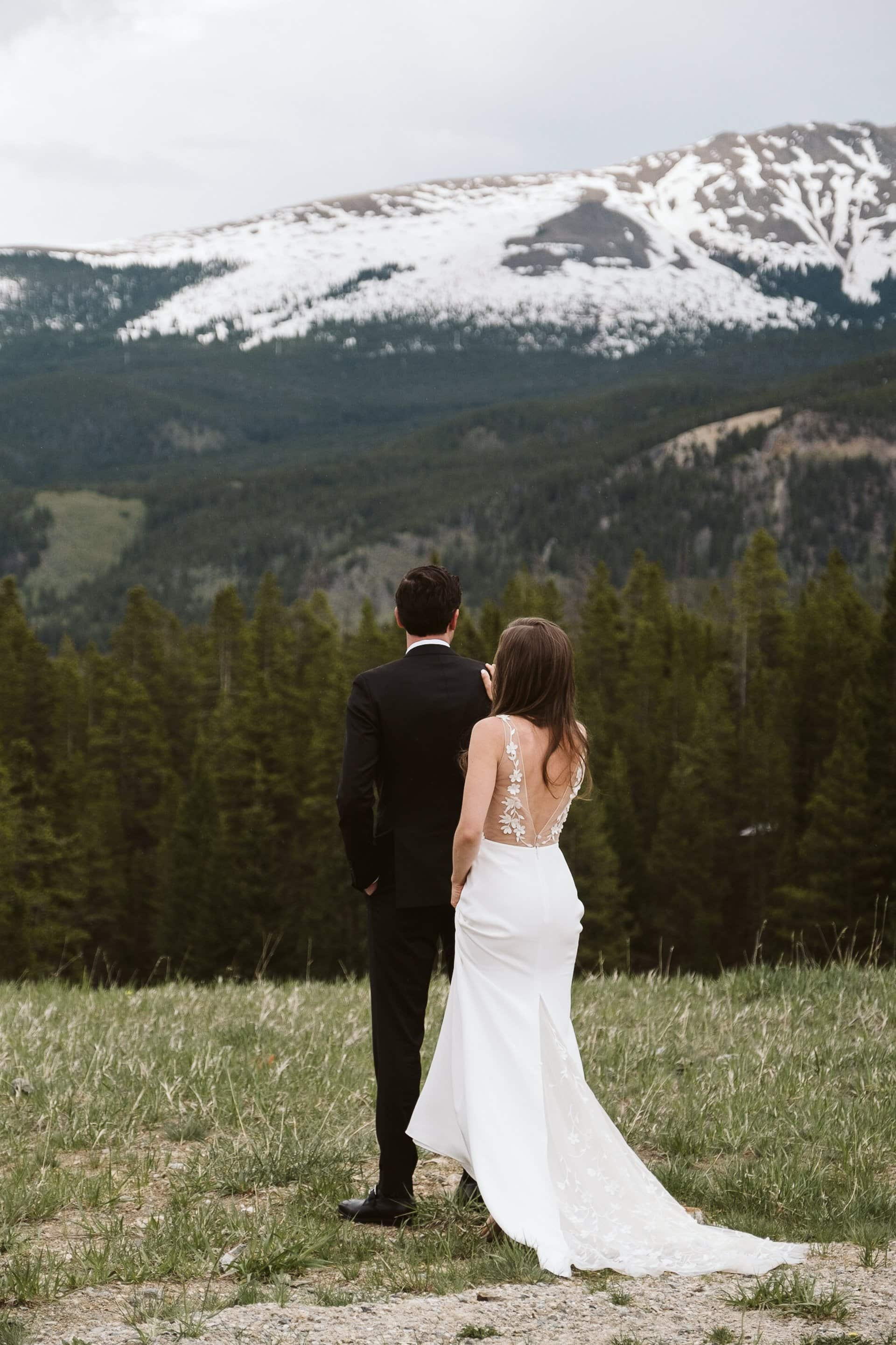 Bride and groom first look at Ten Mile Station, Breckenridge ski resort wedding, Colorado mountain wedding photographer