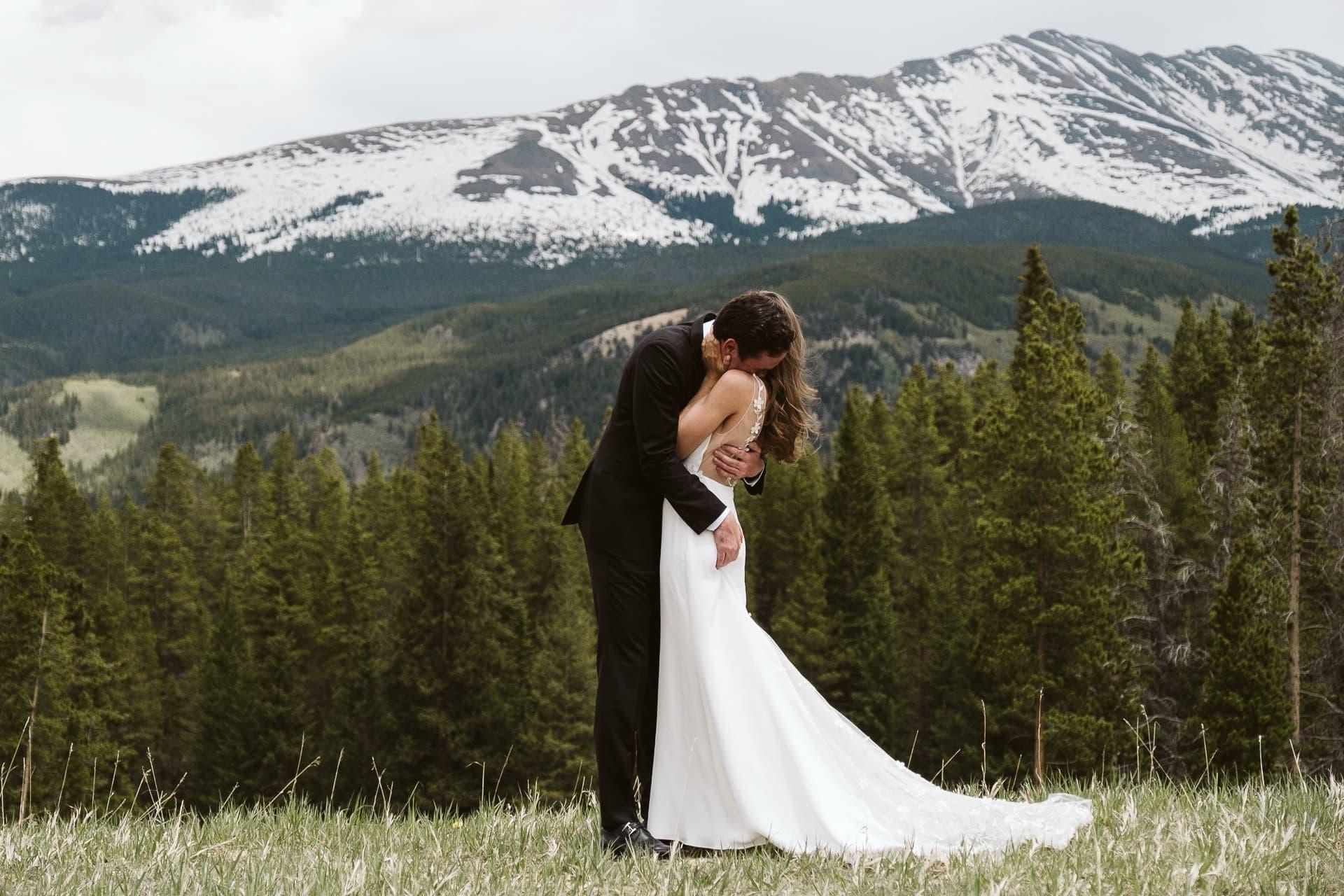Bride and groom portraits at Ten Mile Station, Breckenridge ski resort wedding, Colorado mountain wedding photographer