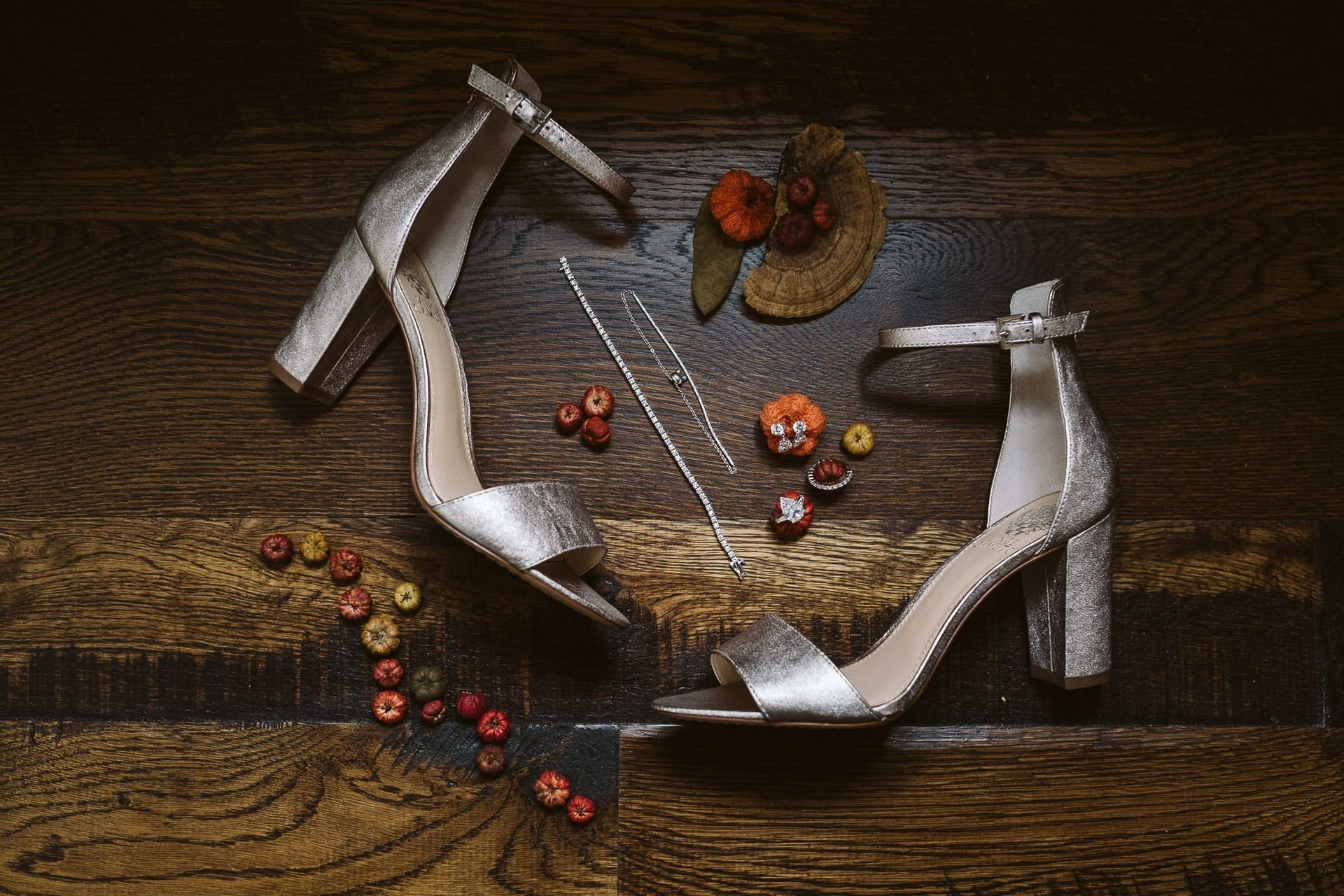 Silver high heeled sandals for bride's wedding shoes, wedding detail photo
