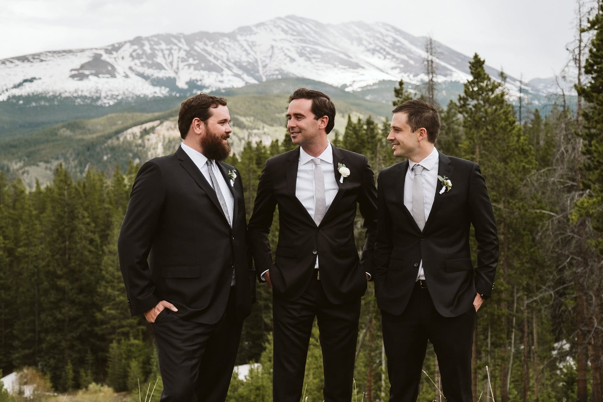 Bride and groom with wedding party portraits at Ten Mile Station, Breckenridge ski resort wedding, Colorado mountain wedding photographer
