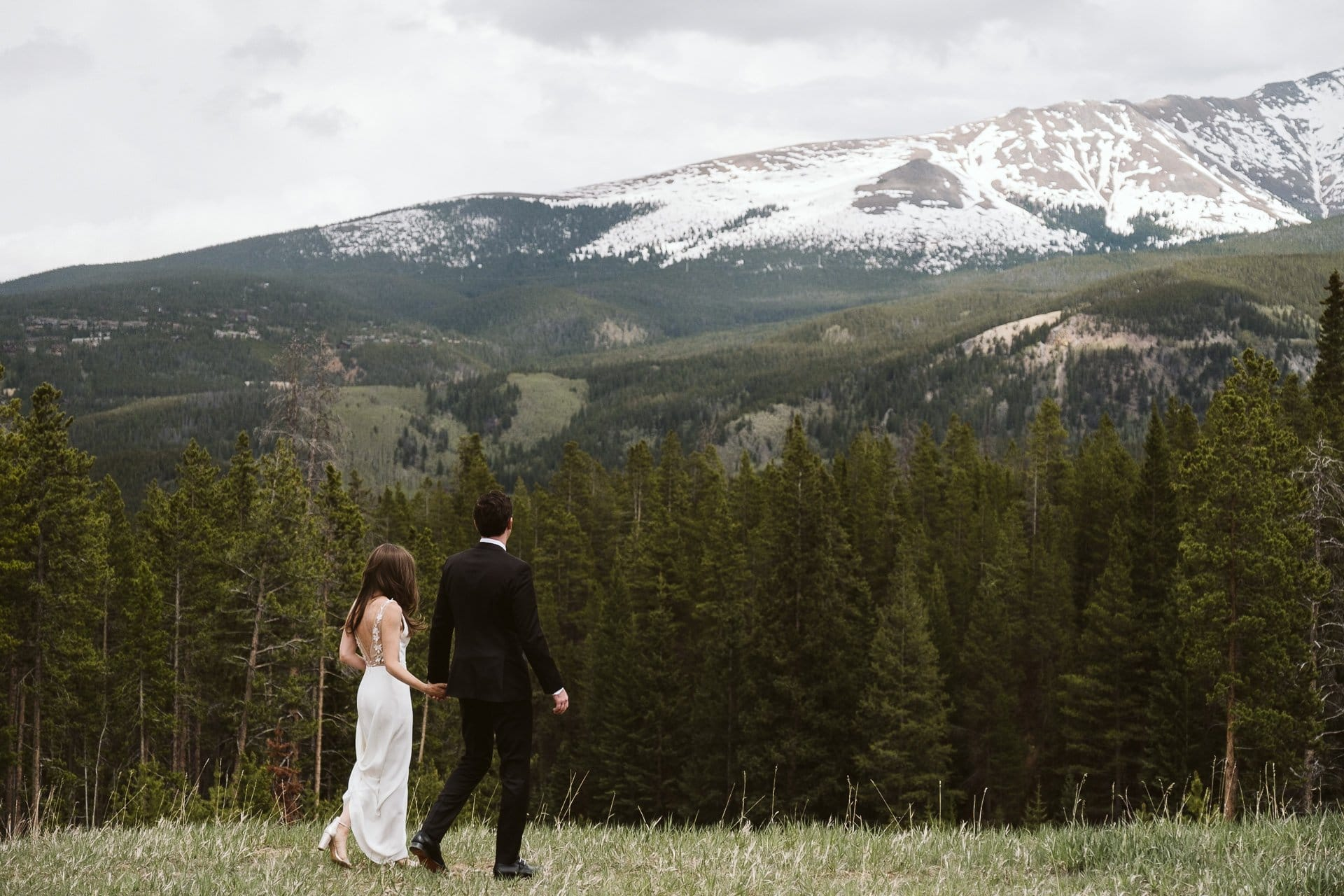 Bride and groom portraits at Ten Mile Station, Breckenridge ski resort wedding, Colorado mountain wedding photographer