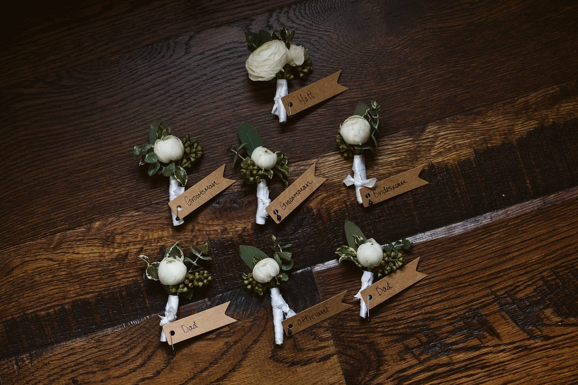 Boutonnieres with magnets by Petal and Bean wedding florist in Breckenridge