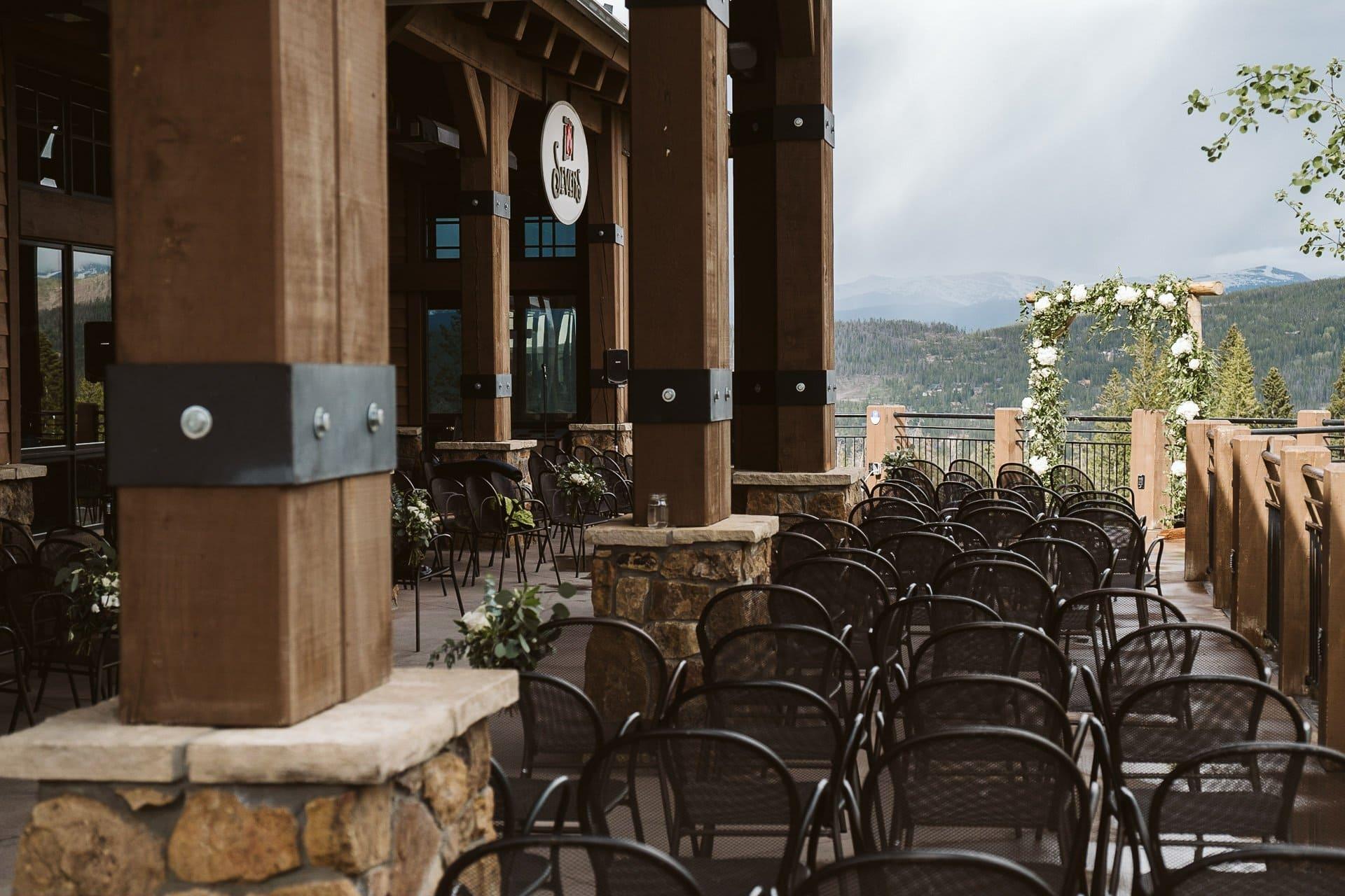 Wedding ceremony and reception at Sevens at Breckenridge Ski Resort, Colorado mountain wedding photographer