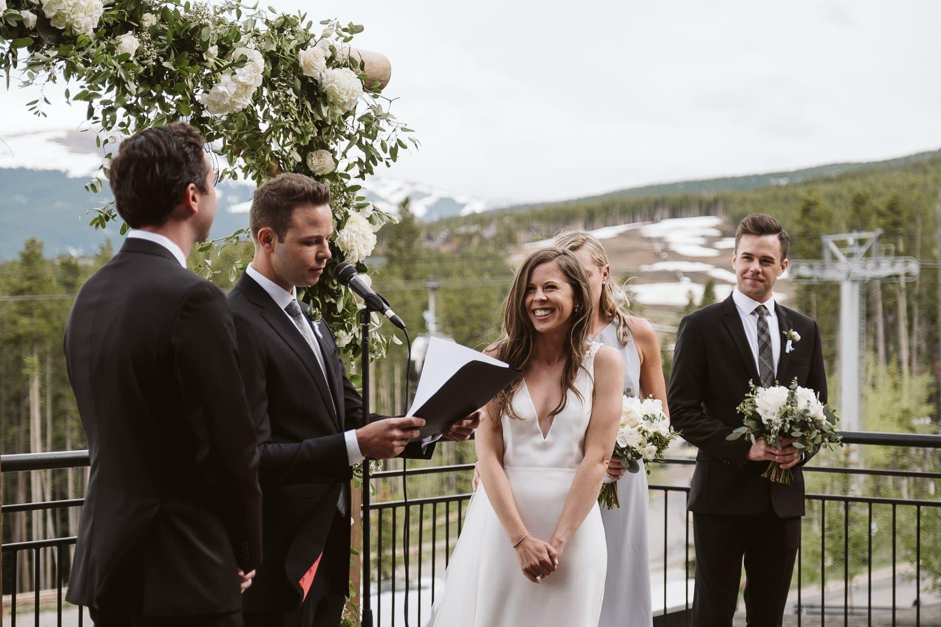 Wedding ceremony at Sevens at Breckenridge Ski Resort, Colorado mountain wedding photographer