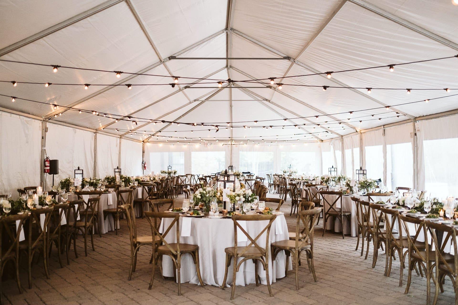 White tent wedding reception at Sevens at Breckenridge ski resort, Colorado mountain wedding