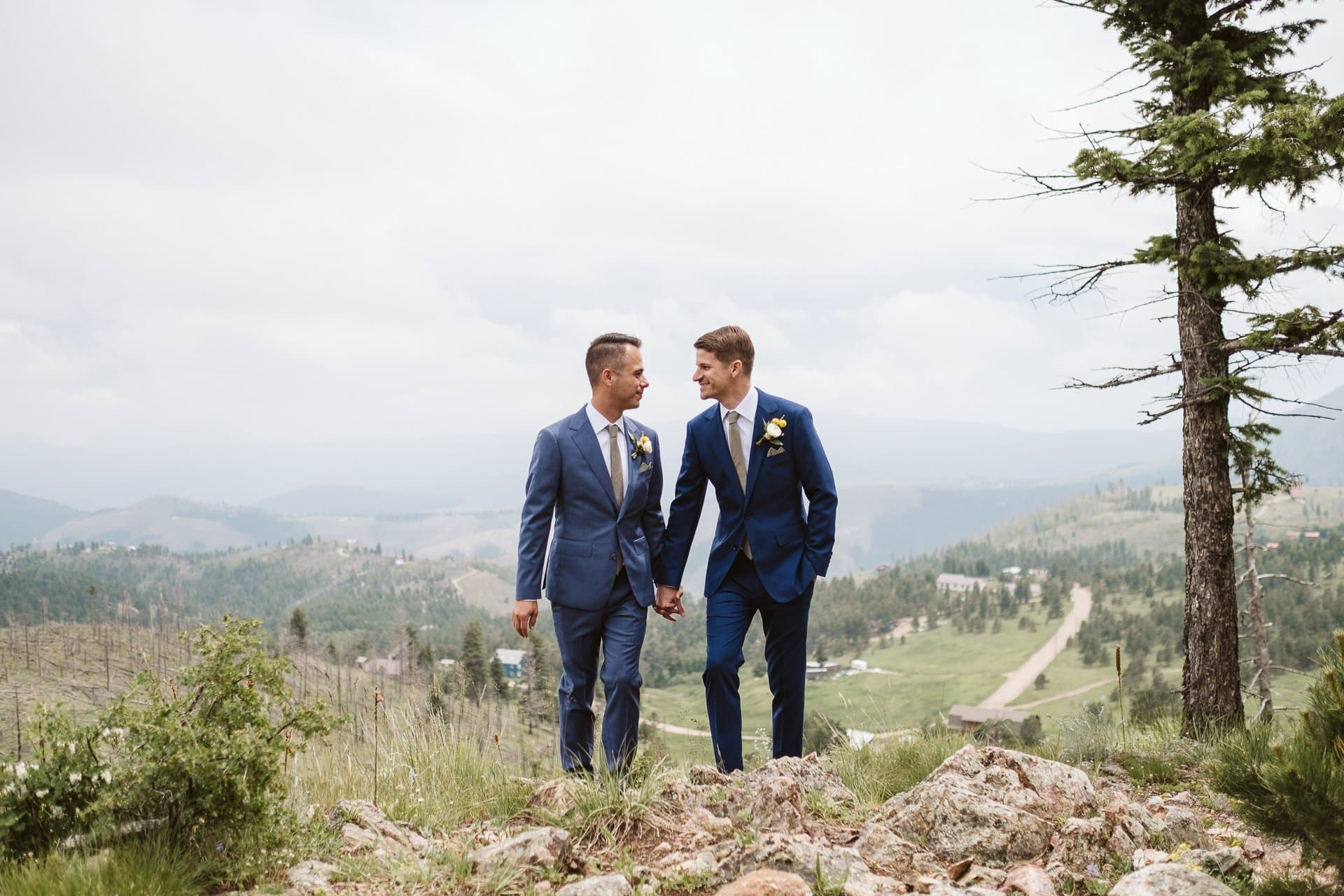 Grooms wedding portraits at Colorado Mountain Ranch in Boulder, gay wedding in Colorado