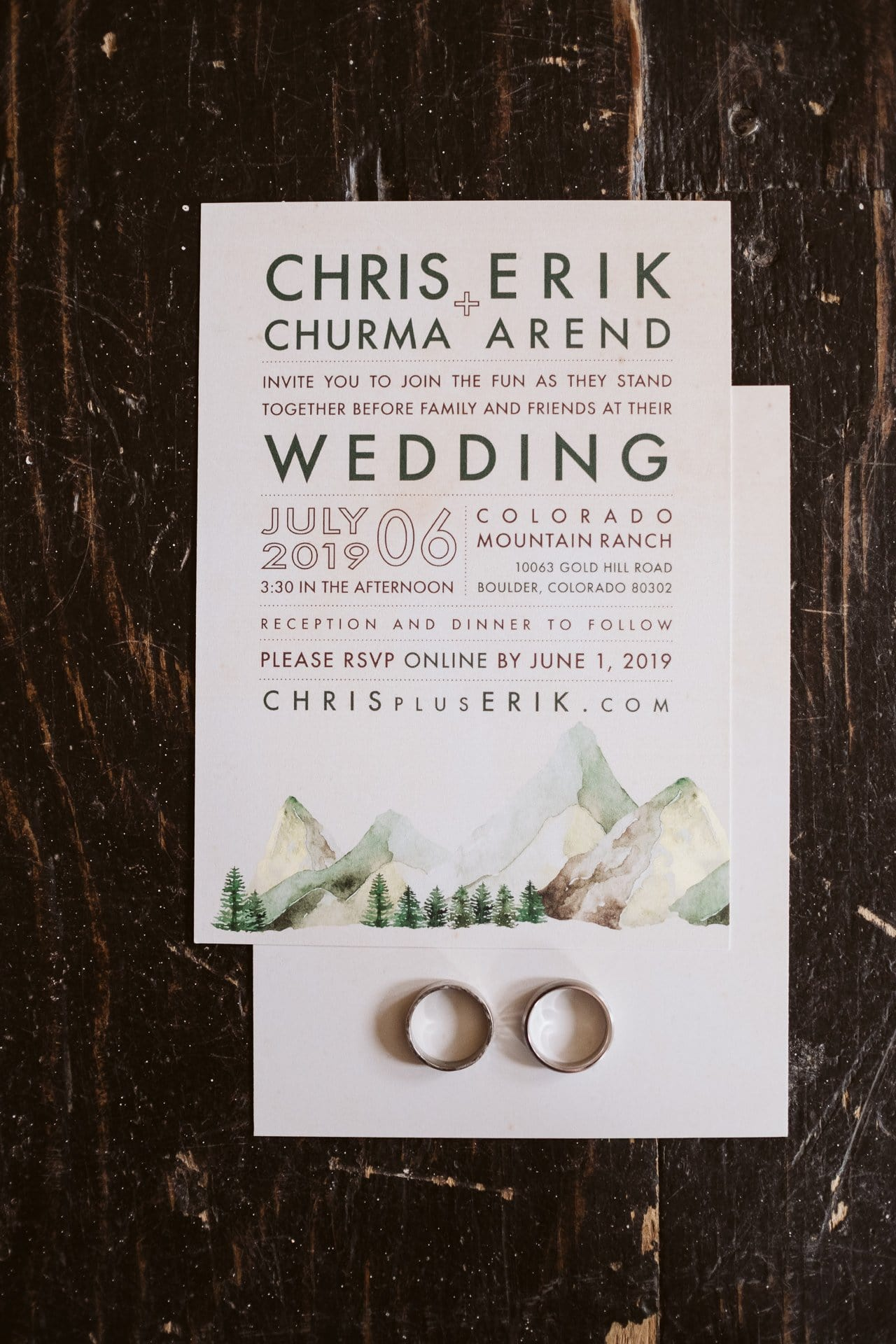 Wedding details with matching leather shoes, leather watches, boutonnieres, and wedding invitations. Gay wedding at Colorado Mountain Ranch