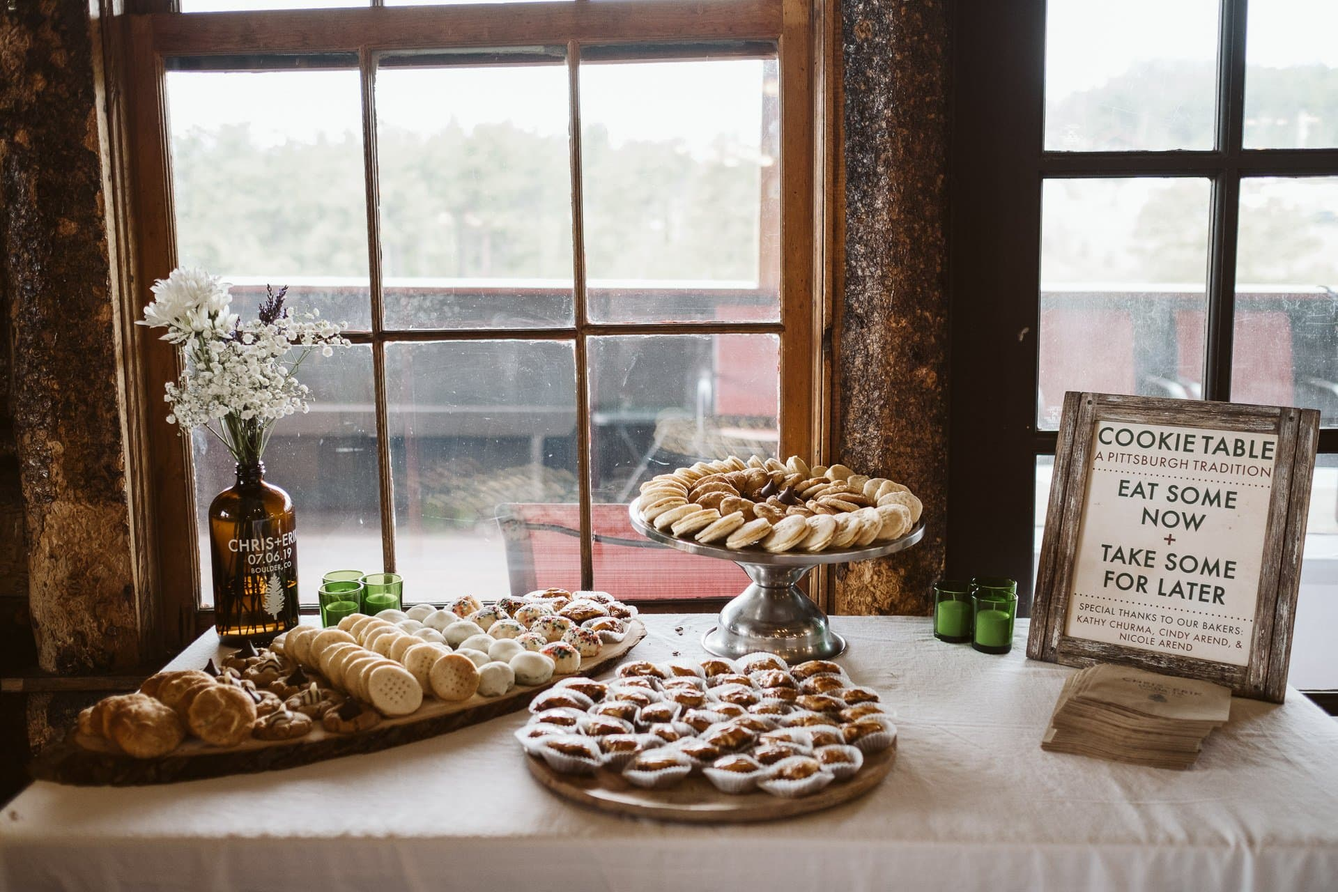 Wedding cake and cookie table