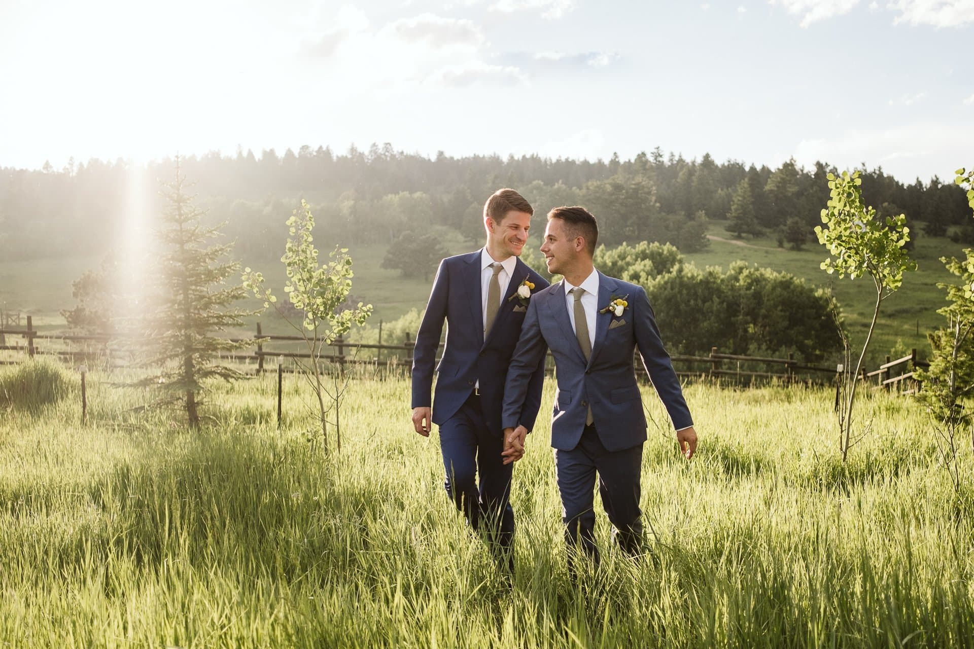Grooms wedding portraits in golden hour at Colorado Mountain Ranch in Boulder County, same sex wedding photography