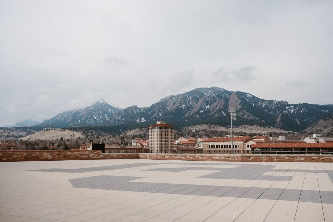 Folsom Field CU Boulder wedding venue, outdoor ceremony views in Boulder