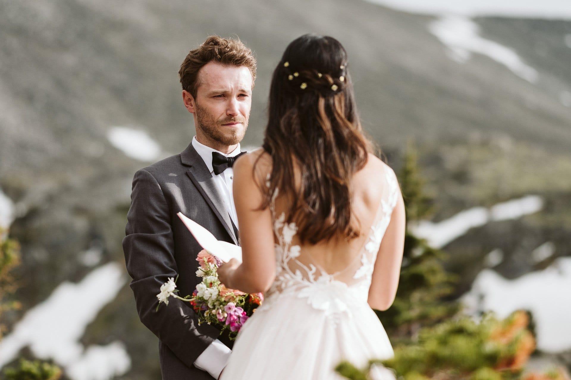 Indian Peaks Wilderness elopement, Colorado adventure elopement photographer, mountain elopement ceremony at alpine lake