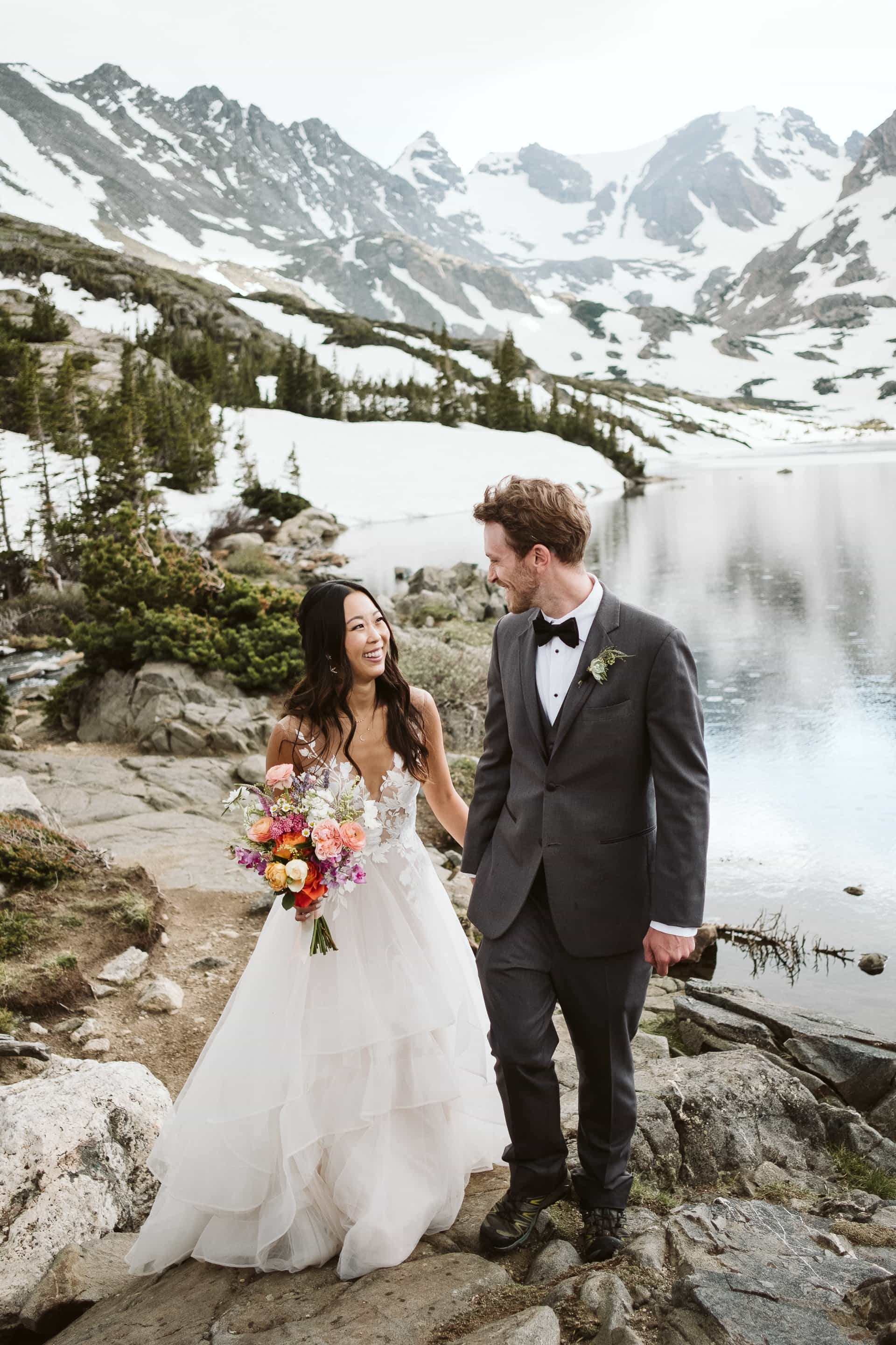 Hiking adventure elopement in the Colorado mountains, Boulder wedding photographer, Indian Peaks Wilderness elopement