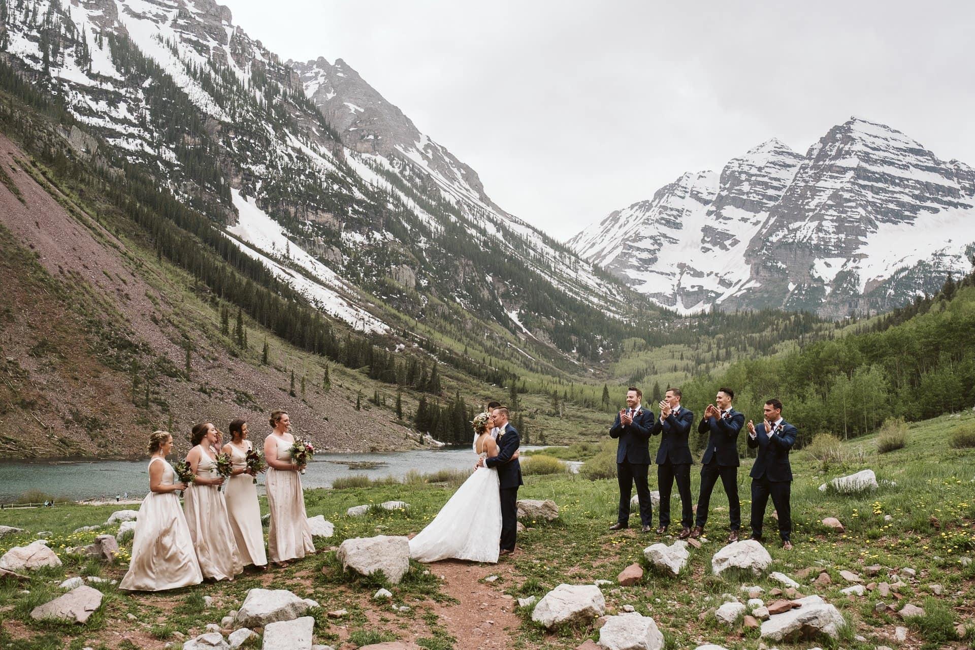 Wedding ceremony at Maroon Bells Amphitheater in Aspen
