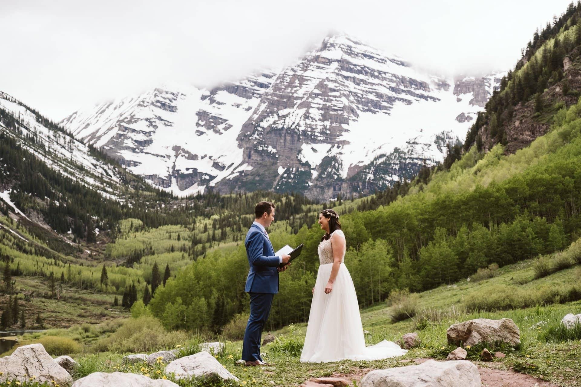Bride and groom self-solemnize elopement at Maroon Bells in Aspen