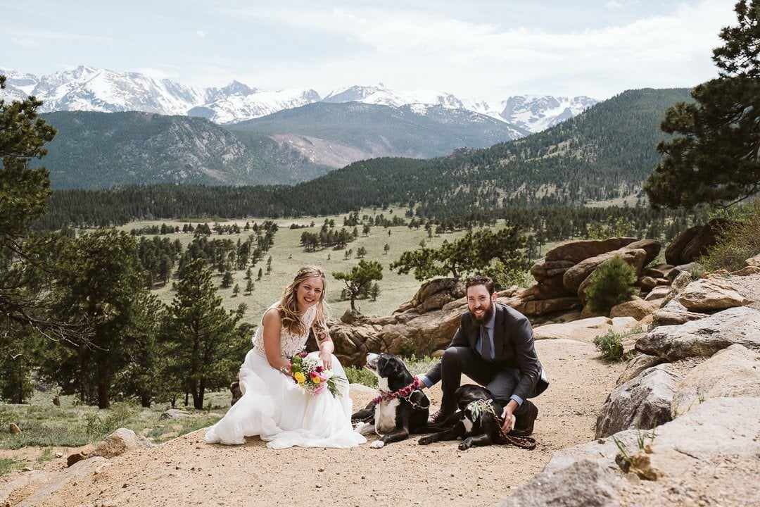 Bride and groom with their dogs at adventure elopement in Colorado, Estes Park wedding photographer
