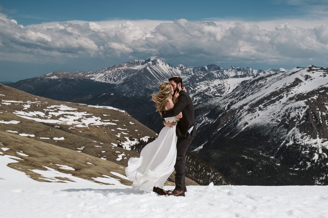 Wedding photos at Trail Ridge Road in Rocky Mountain National Park, Colorado elopement photographer