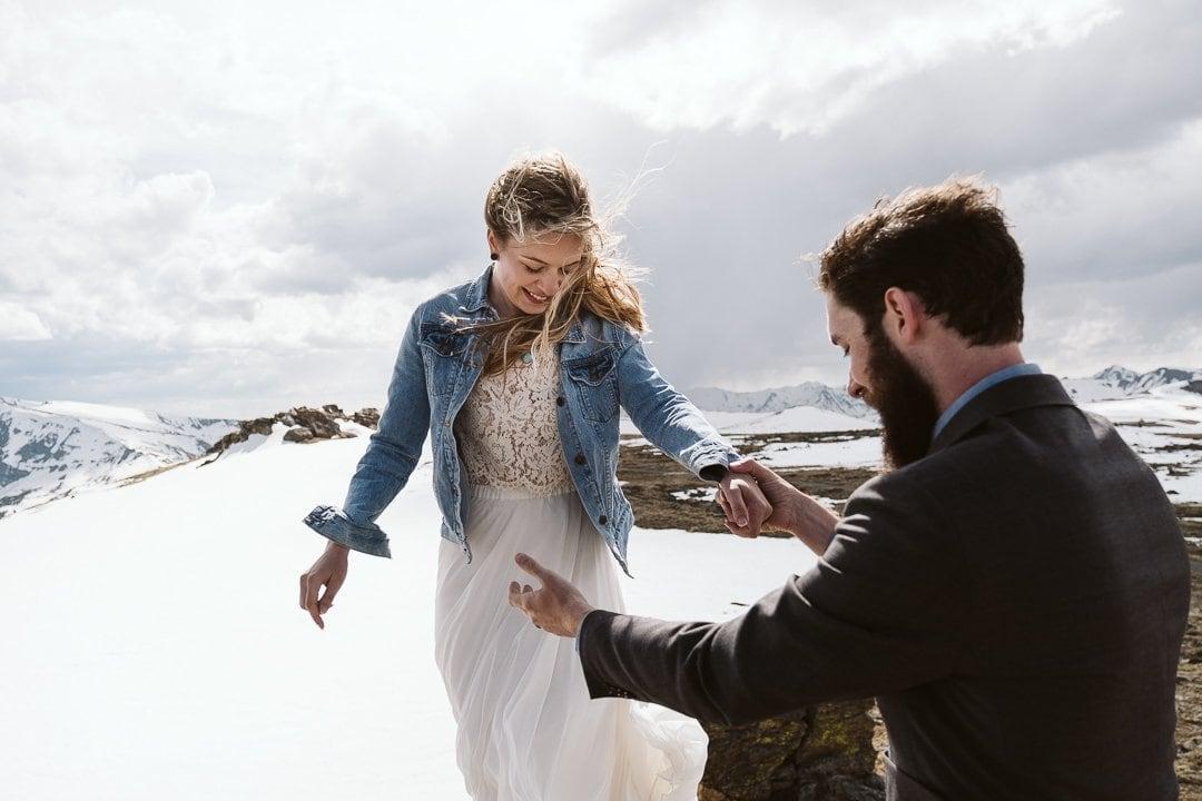 Wedding dress with denim jean jacket