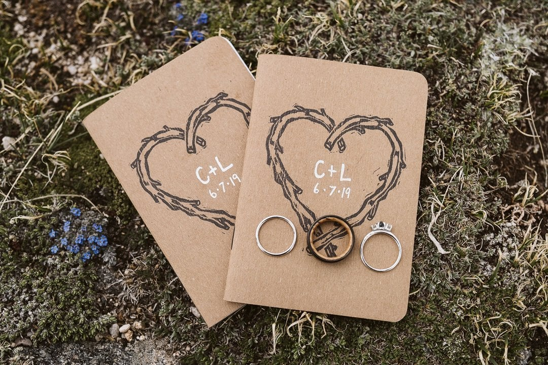Custom vow books for elopement with wedding rings