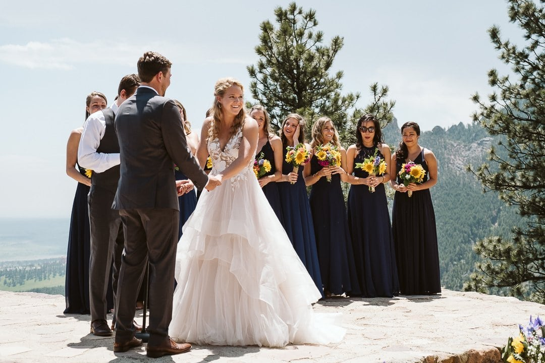 Sunrise Amphitheater wedding ceremony in Boulder, Boulder wedding photographer