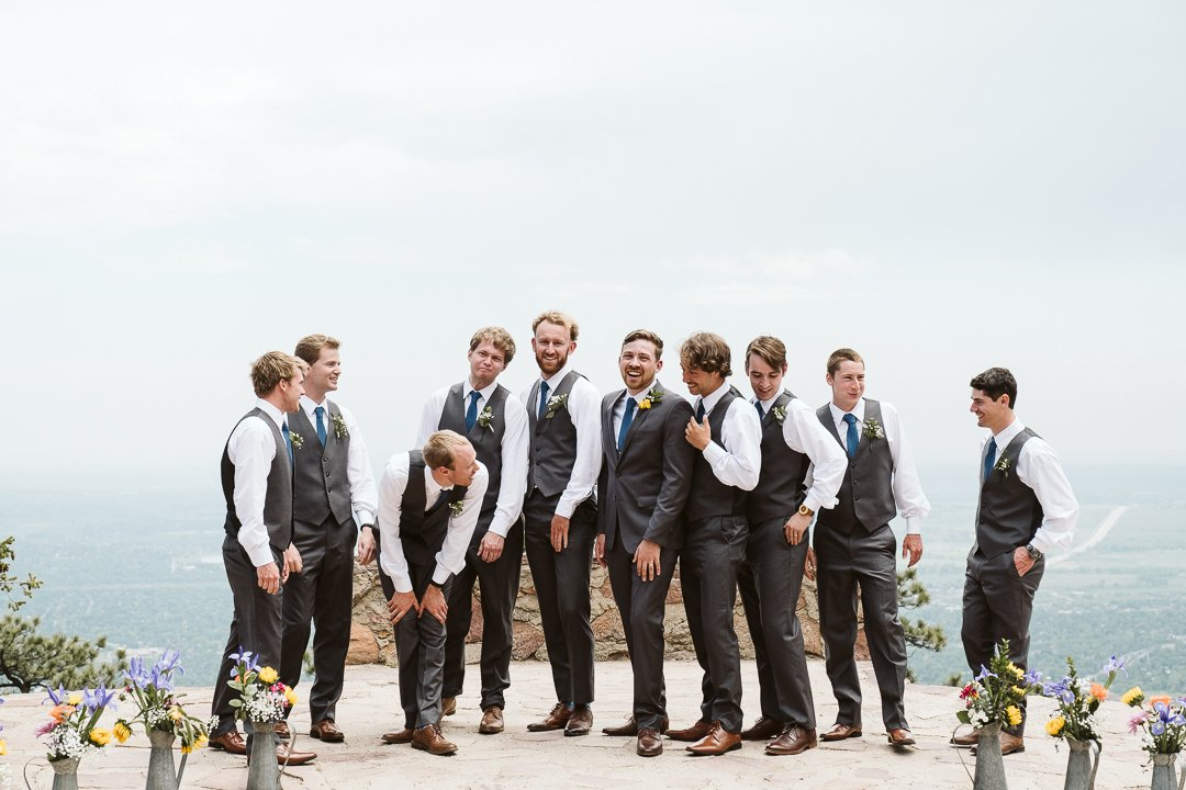 Groom and groomsmen at Sunrise Amphitheater wedding in Boulder Colorado