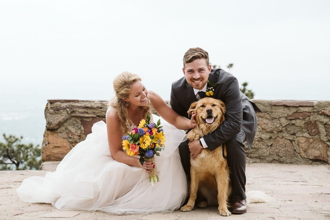 Bride and groom with their golden retriever at the wedding, Boulder wedding with dog