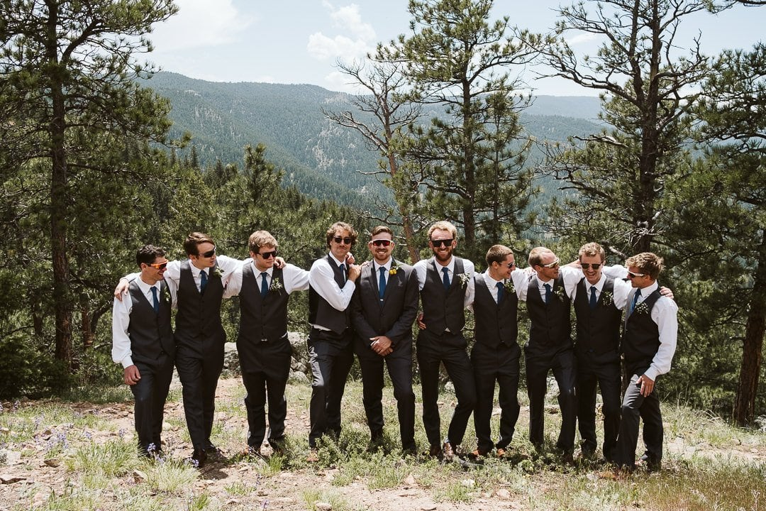 Wedding party on Flagstaff Mountain in Boulder after Sunrise Amphitheater wedding ceremony