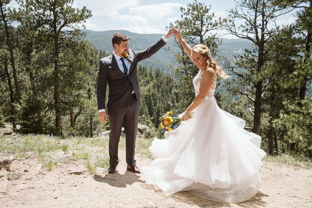 Bride and groom portraits at Flagstaff Mountain in Boulder after Sunrise Amphitheater wedding ceremony, Boulder wedding photographer, bride in BHLDN dress