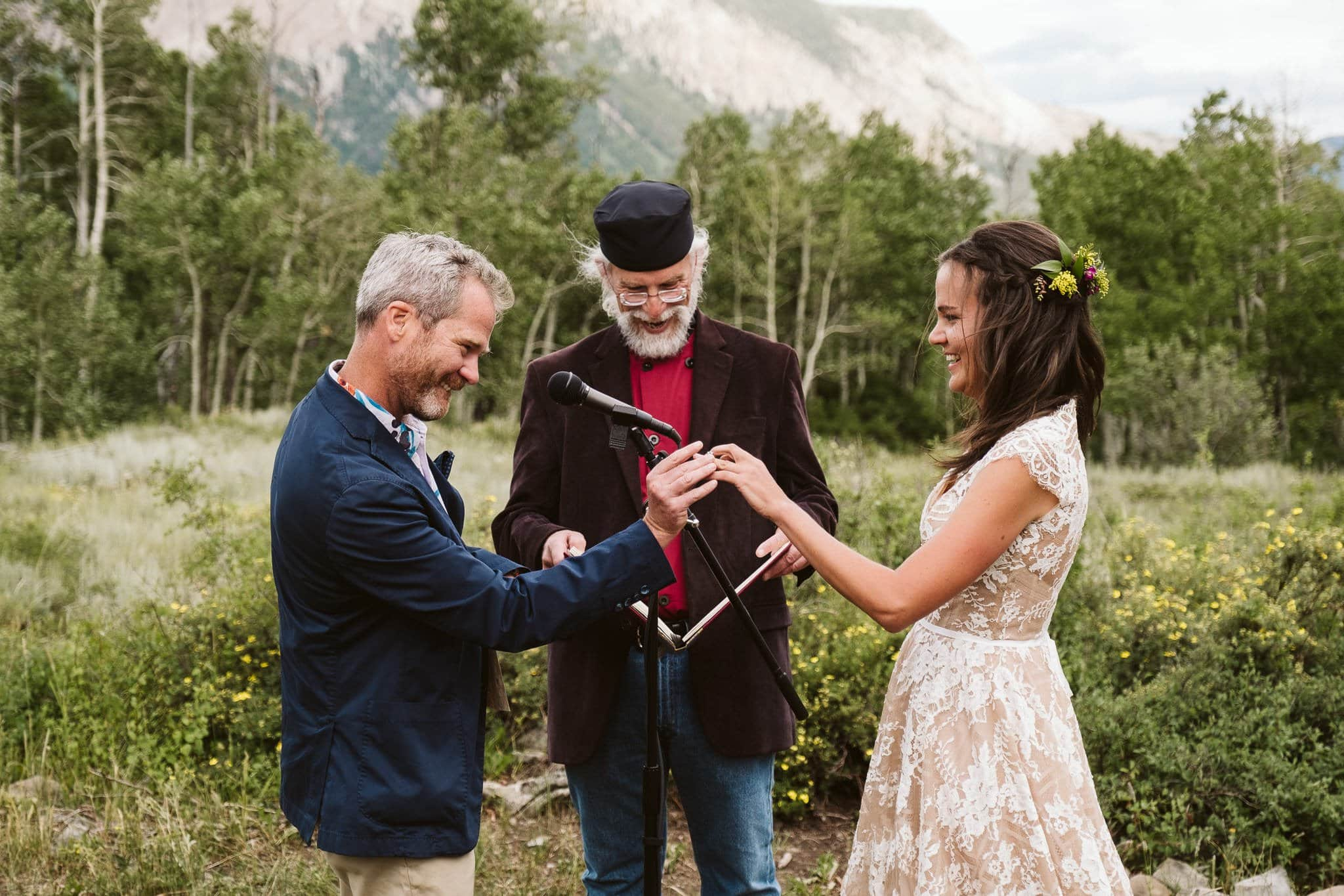 Woods Walk wedding ceremony in Crested Butte, Colorado wedding photographer