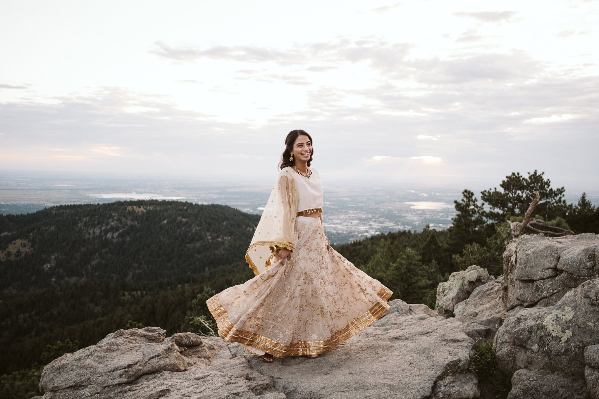 Woman twirling in Indian dress at Lost Gulch