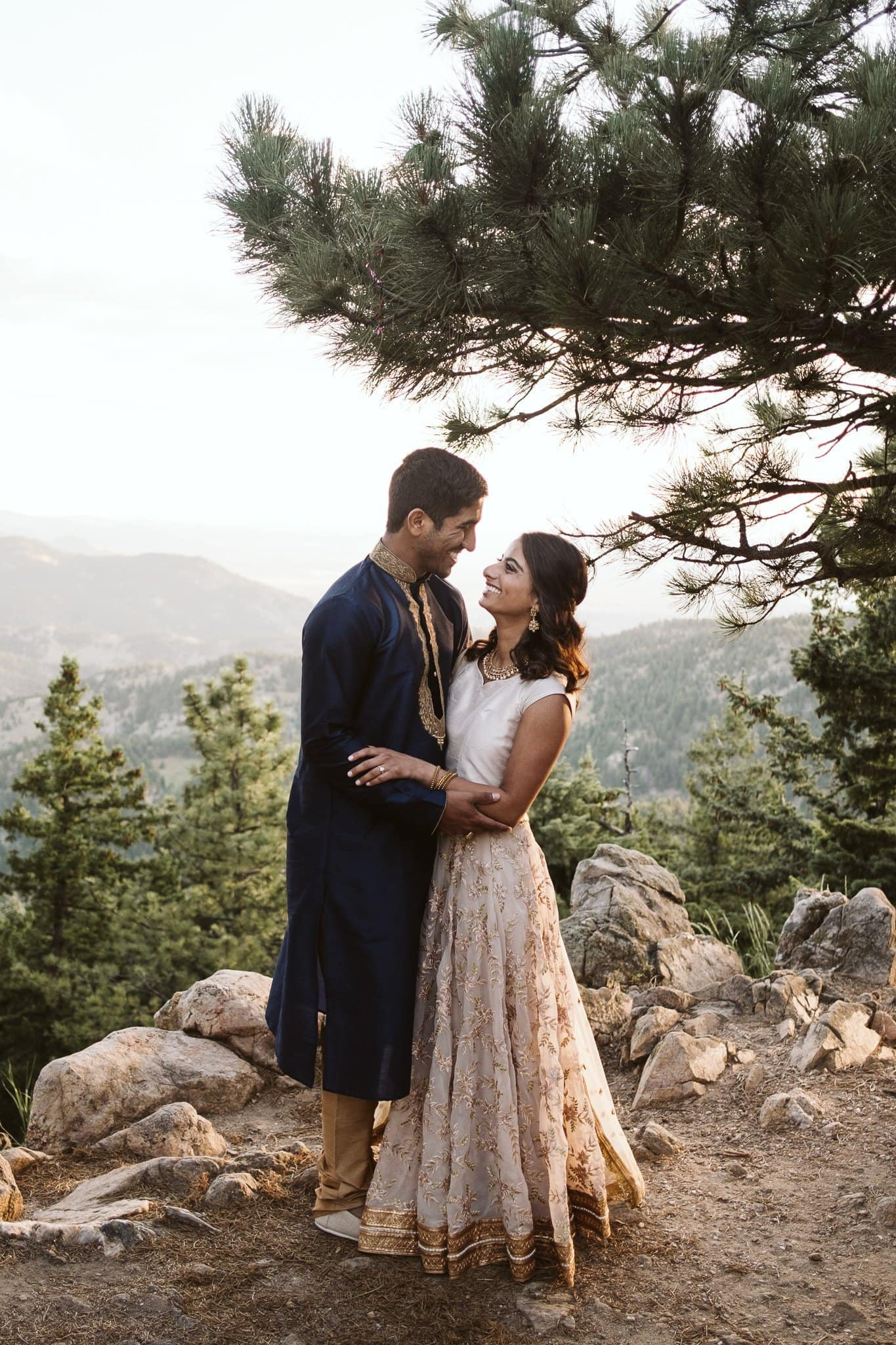 Boulder engagement session at sunrise on Flagstaff Mountain, Colorado engagement photographer