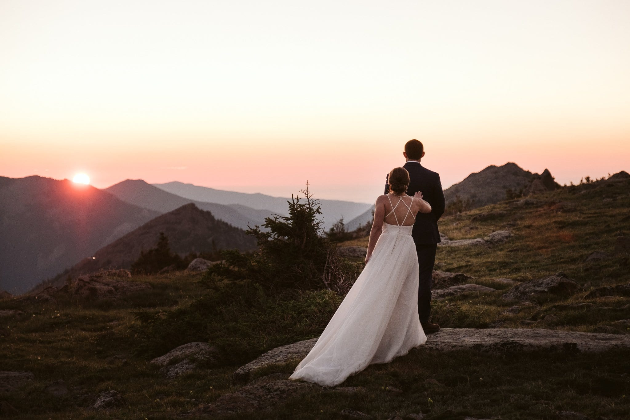 Sunrise hiking elopement in Rocky Mountain National Park, Colorado elopement photographer