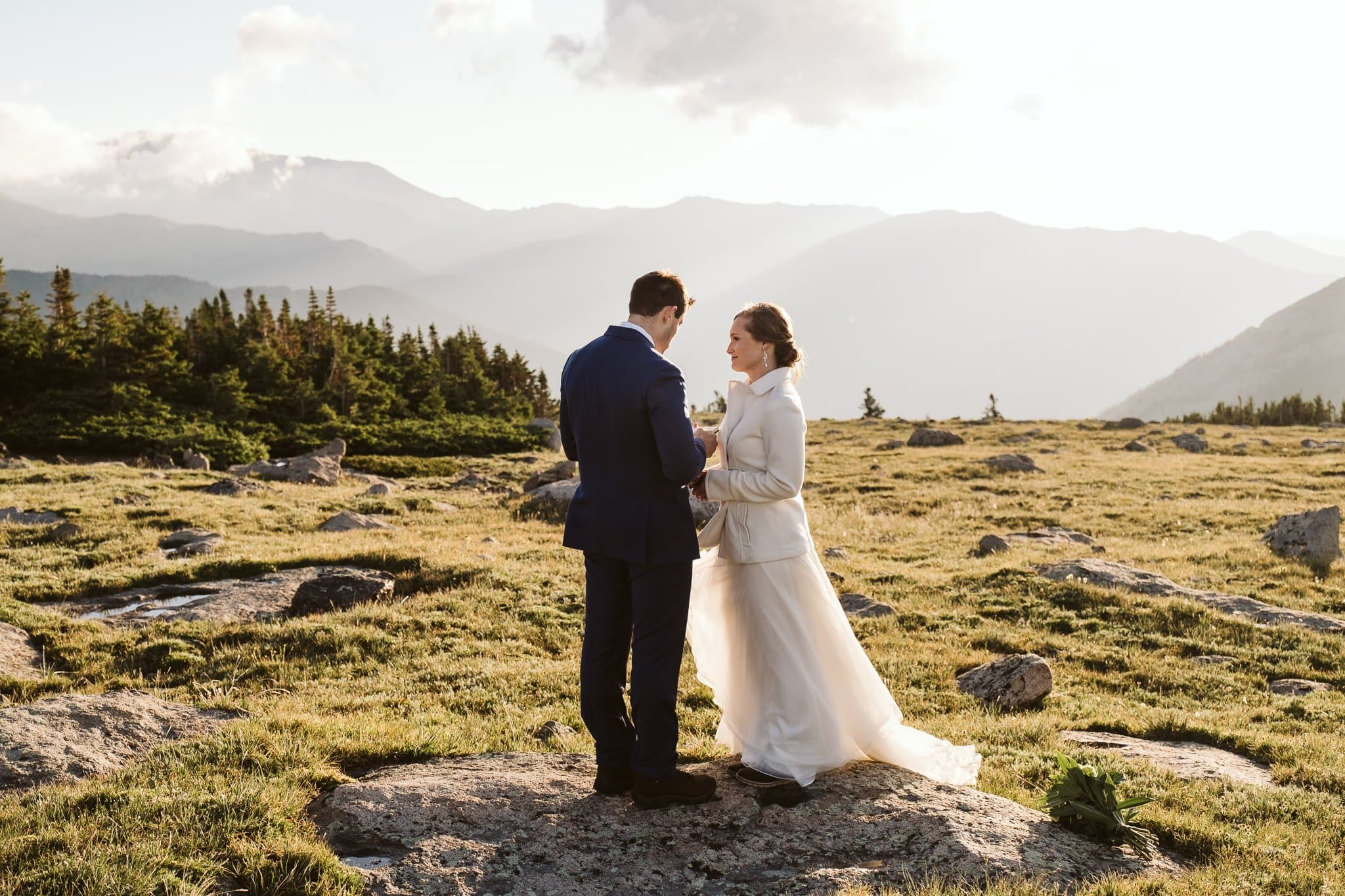 Elopement vow exchange in the mountains, Colorado adventure elopement