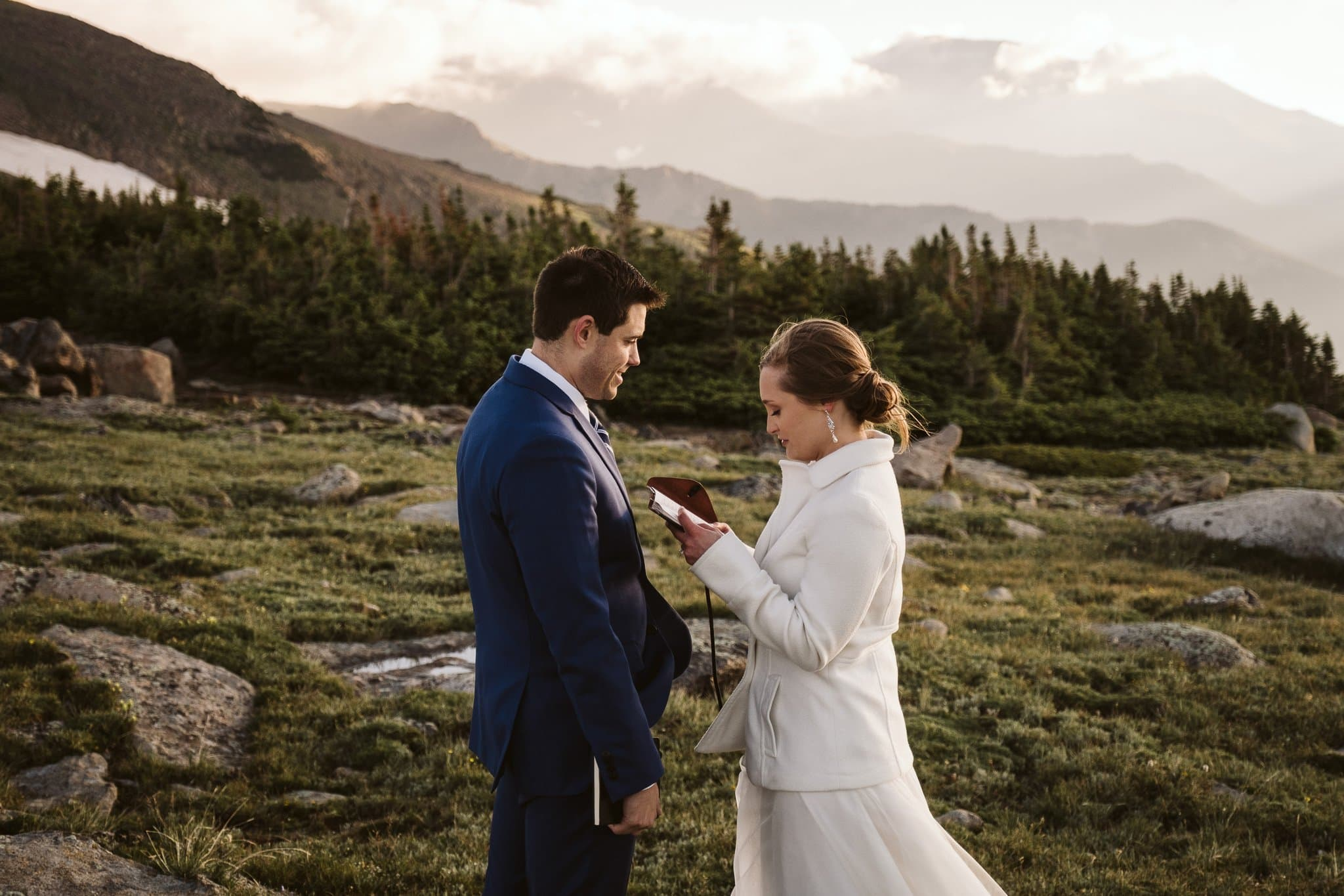 Elopement vow exchange in the mountains, Colorado adventure elopement
