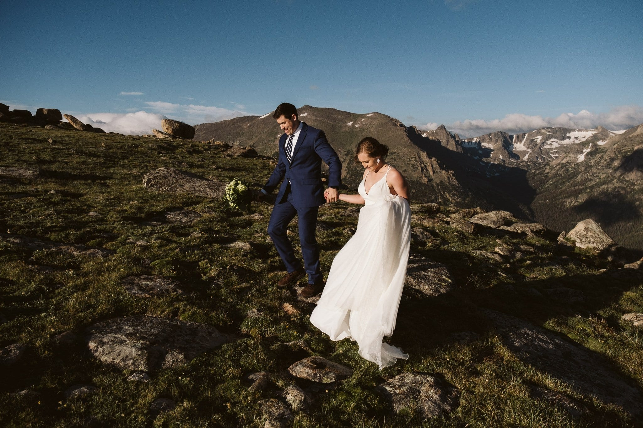 Adventure hiking elopement in the Rocky Mountains, Colorado elopement photographer, adventure wedding