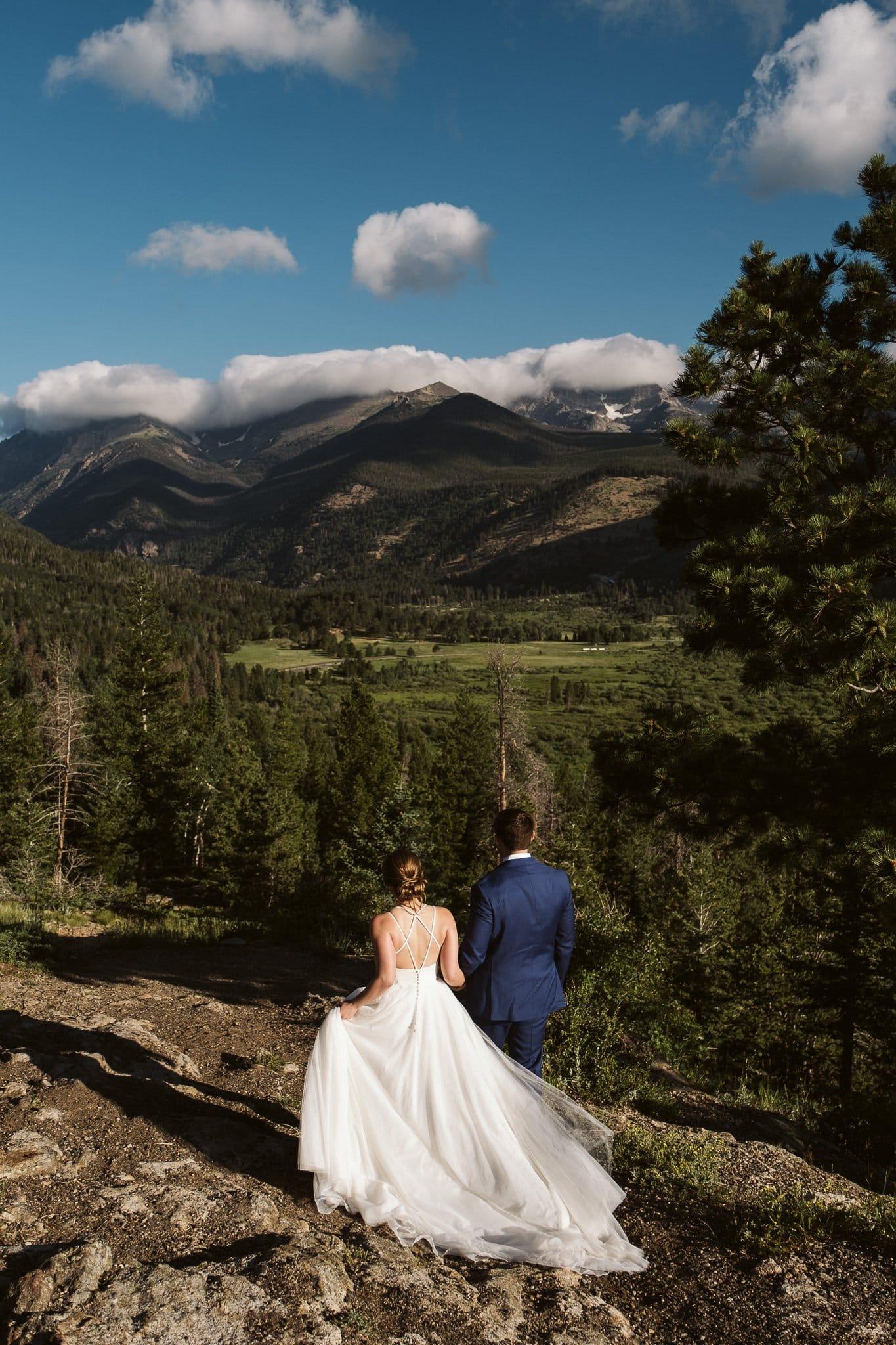 Adventure hiking elopement in the Rocky Mountains, Colorado elopement photographer, adventure wedding