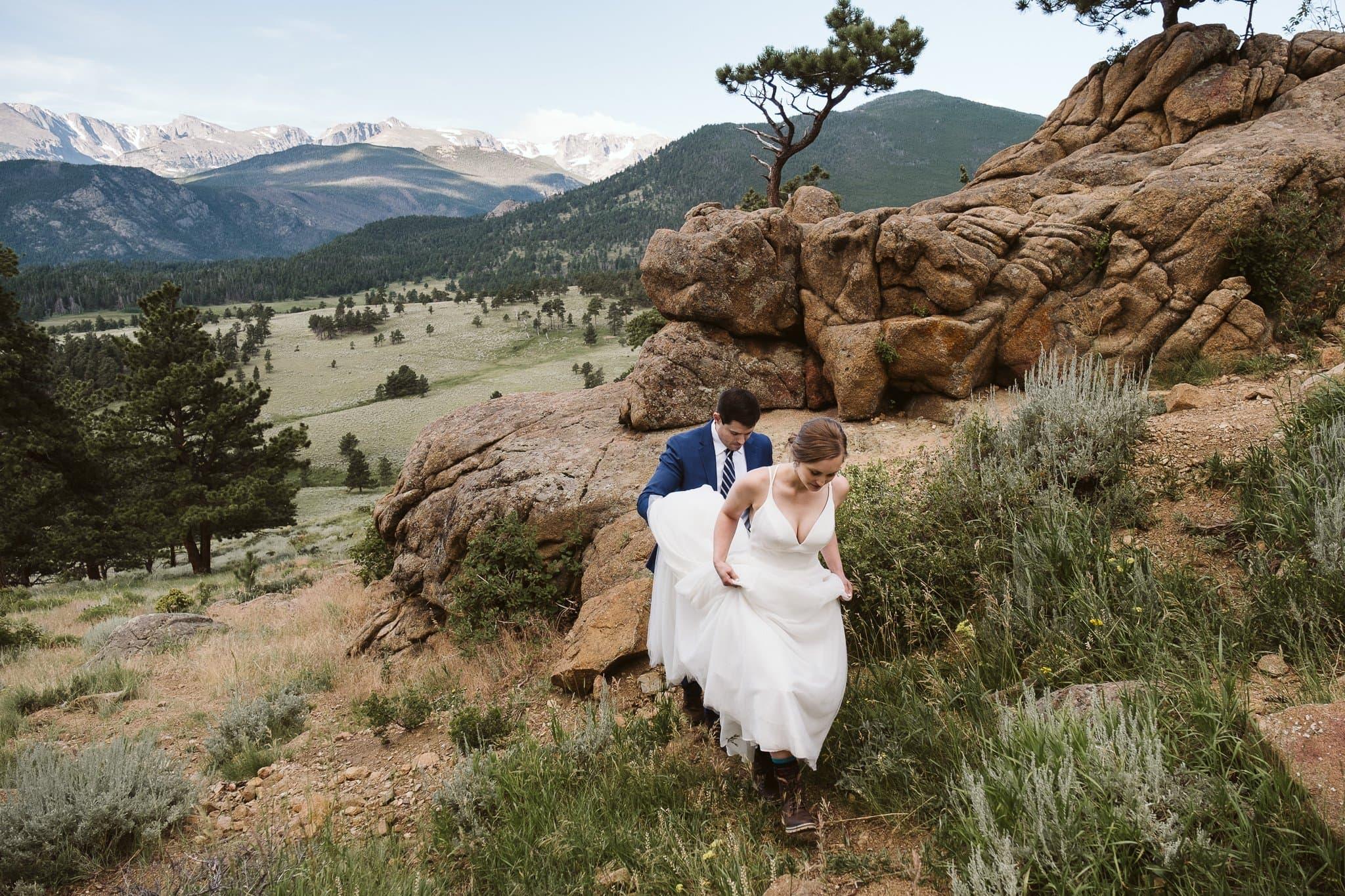 Adventure elopement in Rocky Mountain National Park, Colorado wedding photographer