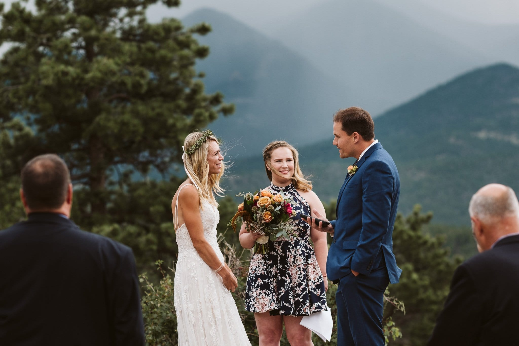 Elopement ceremony at 3M Curve in Rocky Mountain National Park, Colorado elopement photographer
