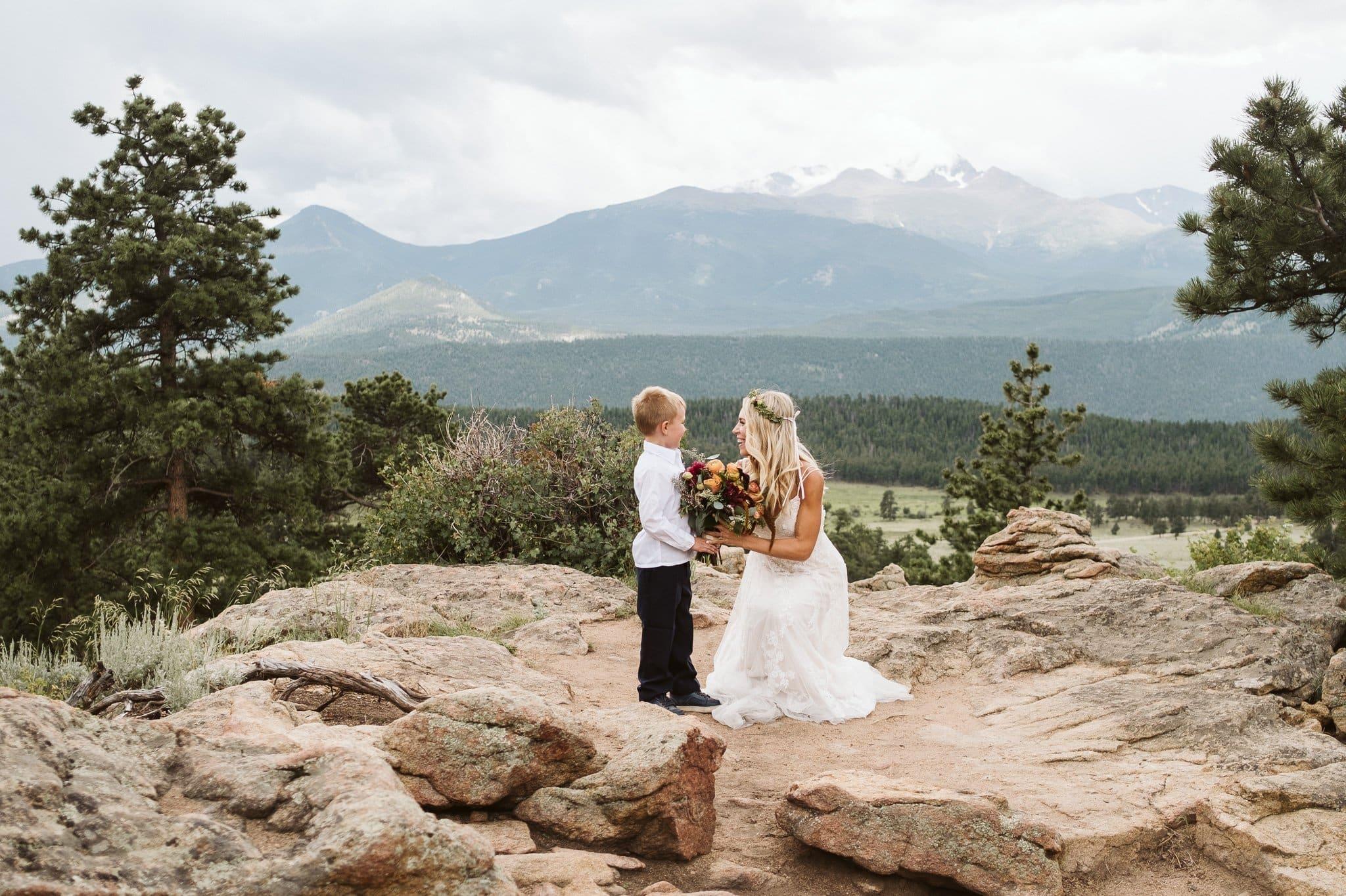 Wedding photos at 3M Curve in Rocky Mountain National Park, Estes Park wedding, Colorado wedding photographer, bride with her son