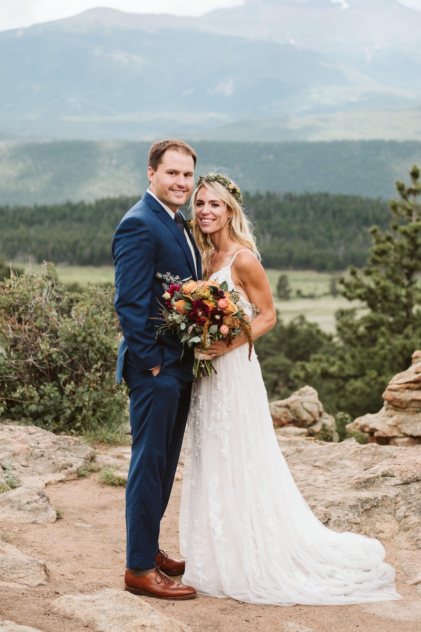 Wedding photos at 3M Curve in Rocky Mountain National Park, Estes Park wedding, Colorado wedding photographer, bride and groom portrait