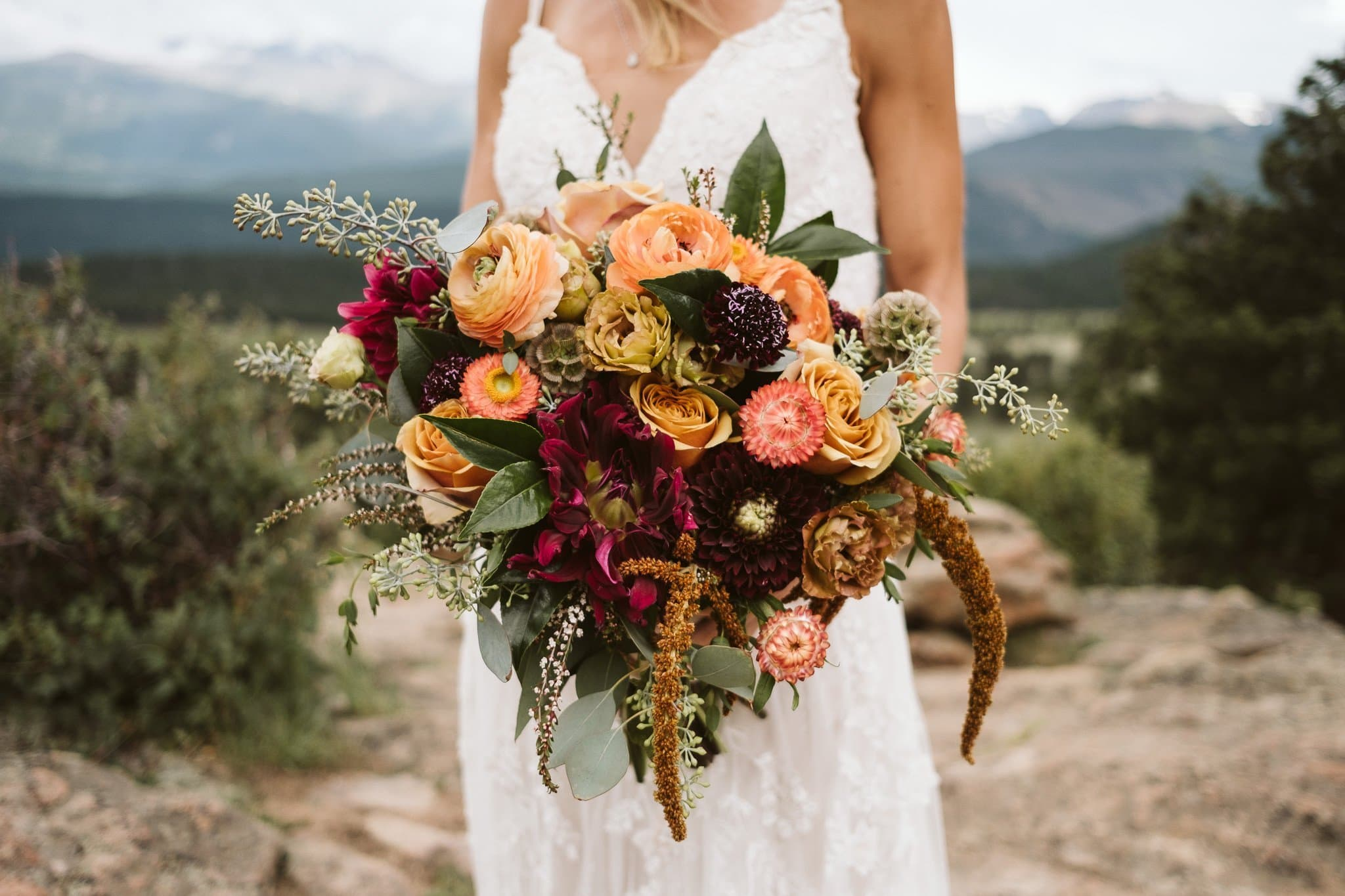 Wild autumn color wedding bouquet by Fawns Leap in Boulder Colorado