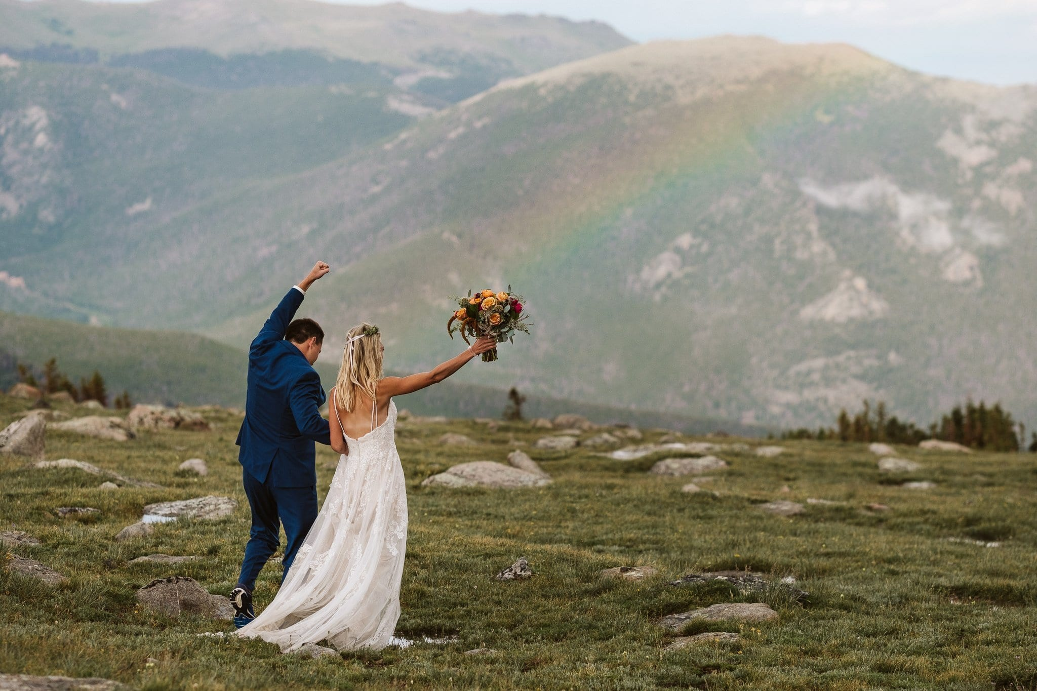 Rocky Mountain National Park elopement in Colorado with stormy weather and rainbow