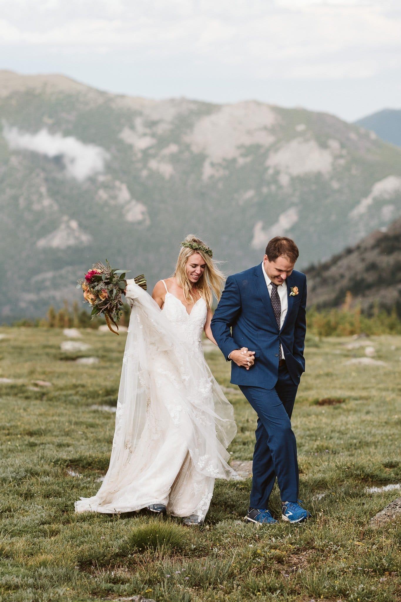 Rocky Mountain National Park elopement photographer, Colorado hiking adventure elopement