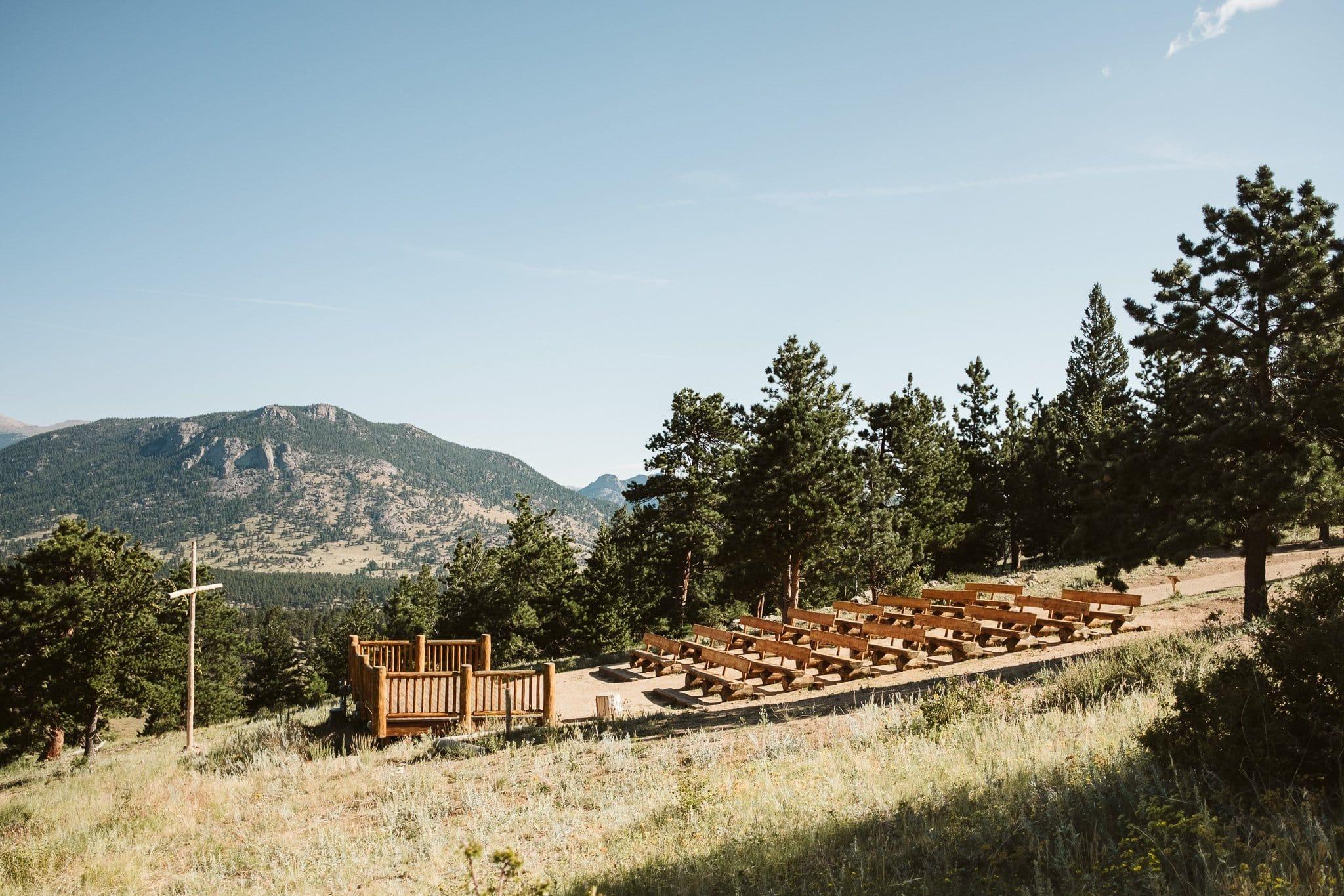 YMCA of the Rockies Estes Park wedding venue, outdoor ceremony venue with cross